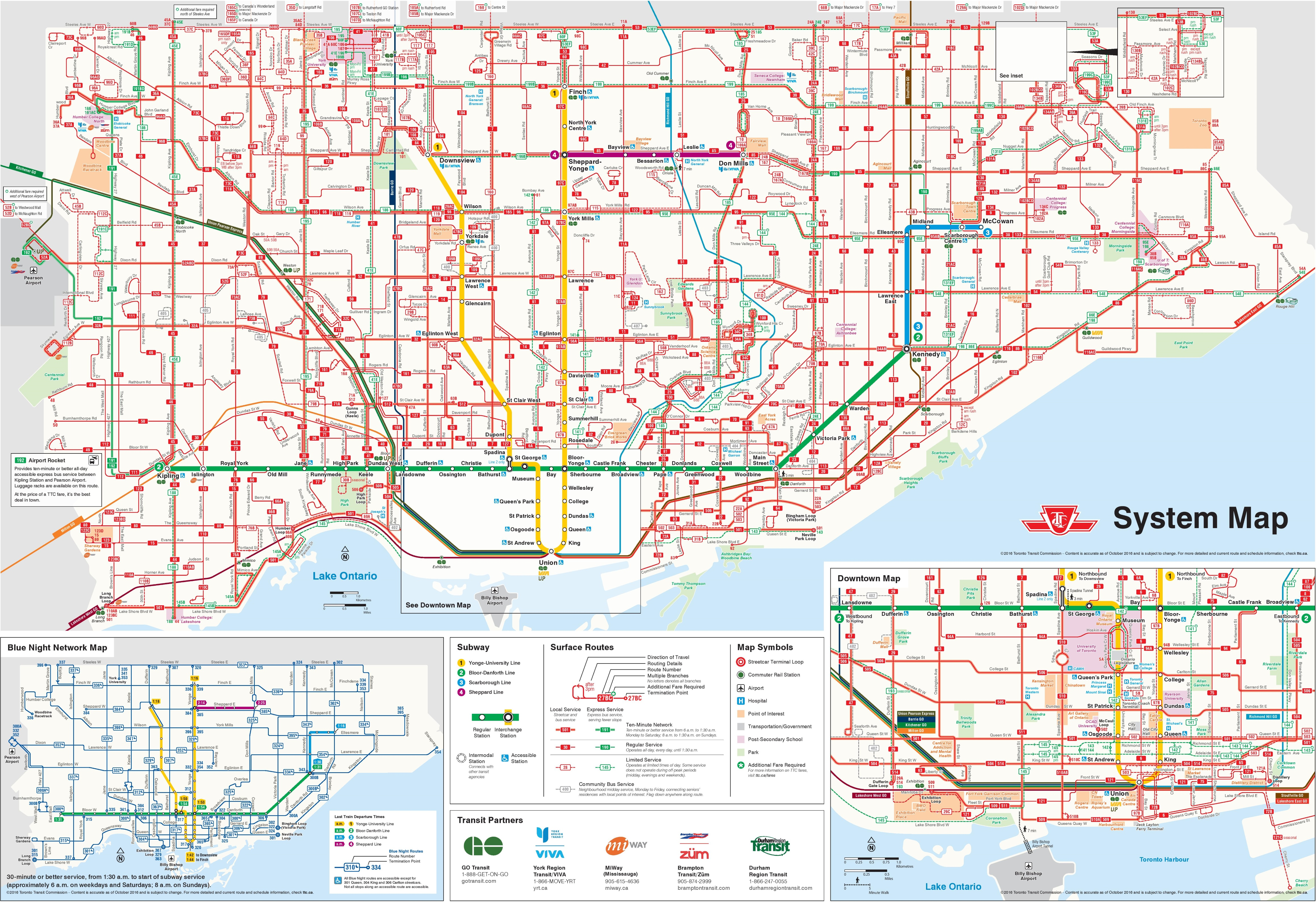 Toronto transport map