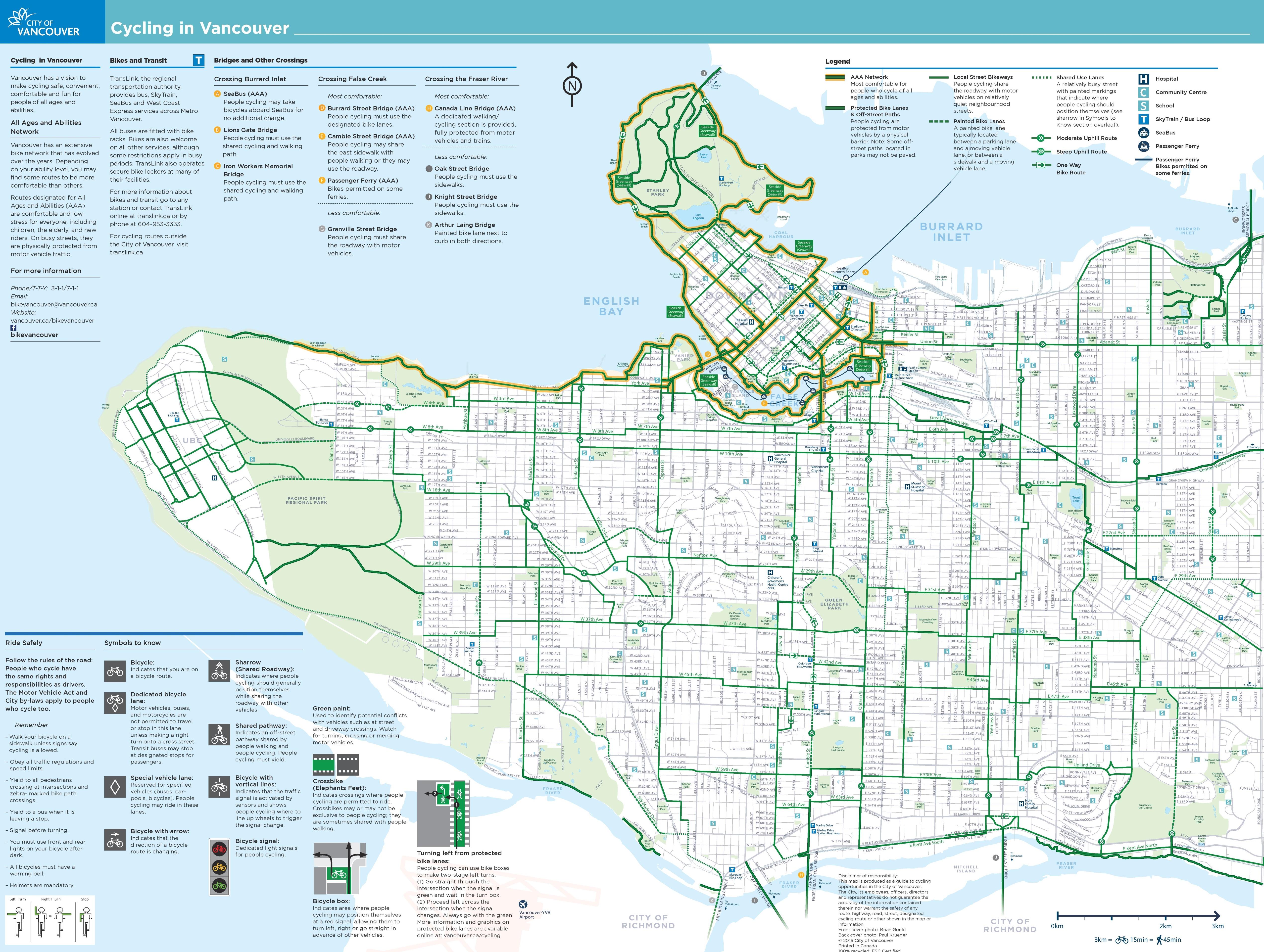 Vancouver Cycling Map Vancouver cycling map