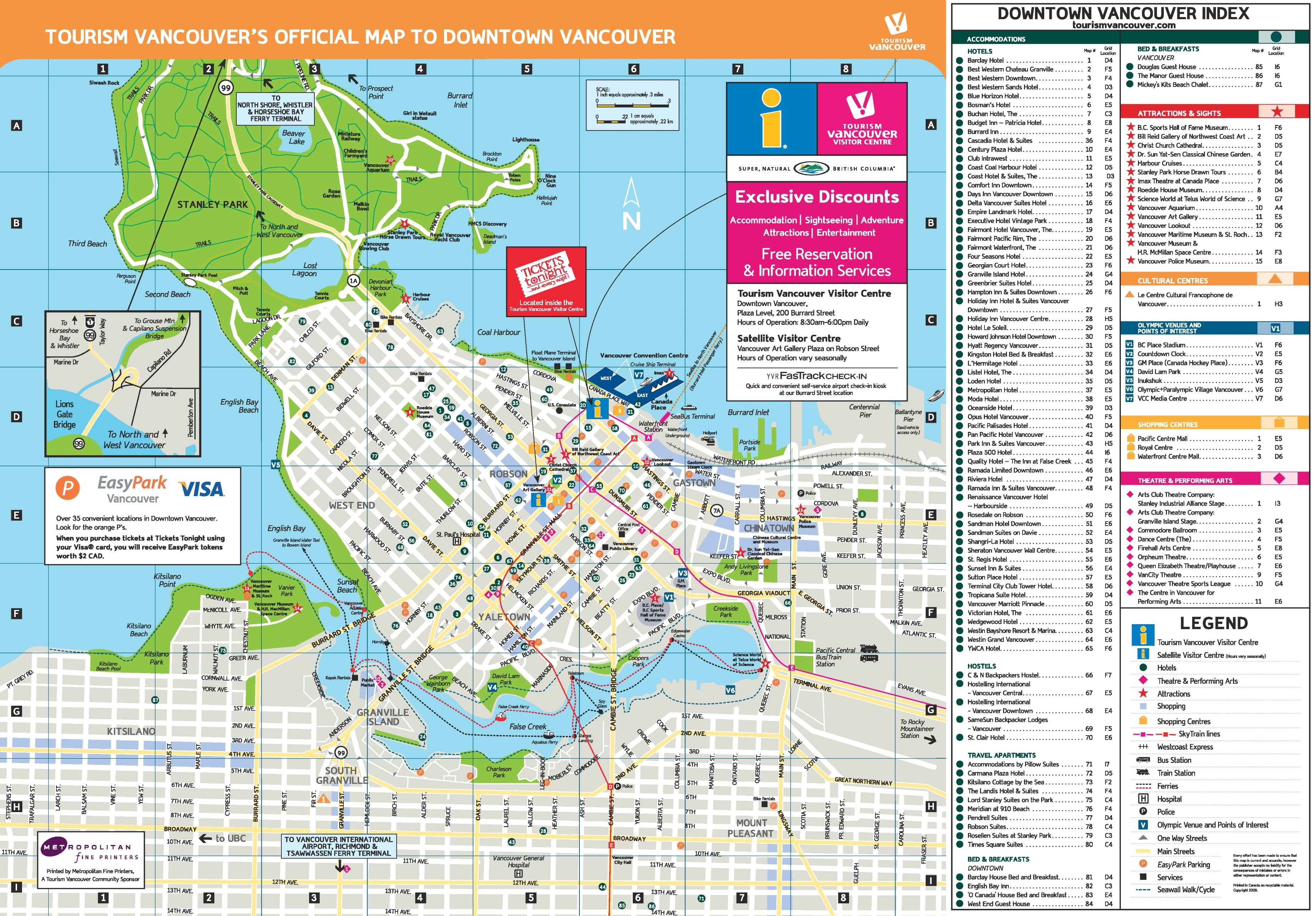 vancouver hotels and sightseeings map