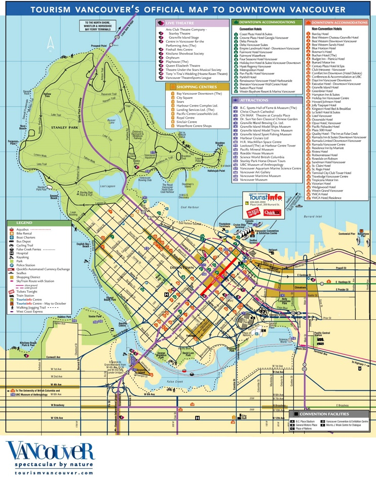 Vancouver tourist attractions map
