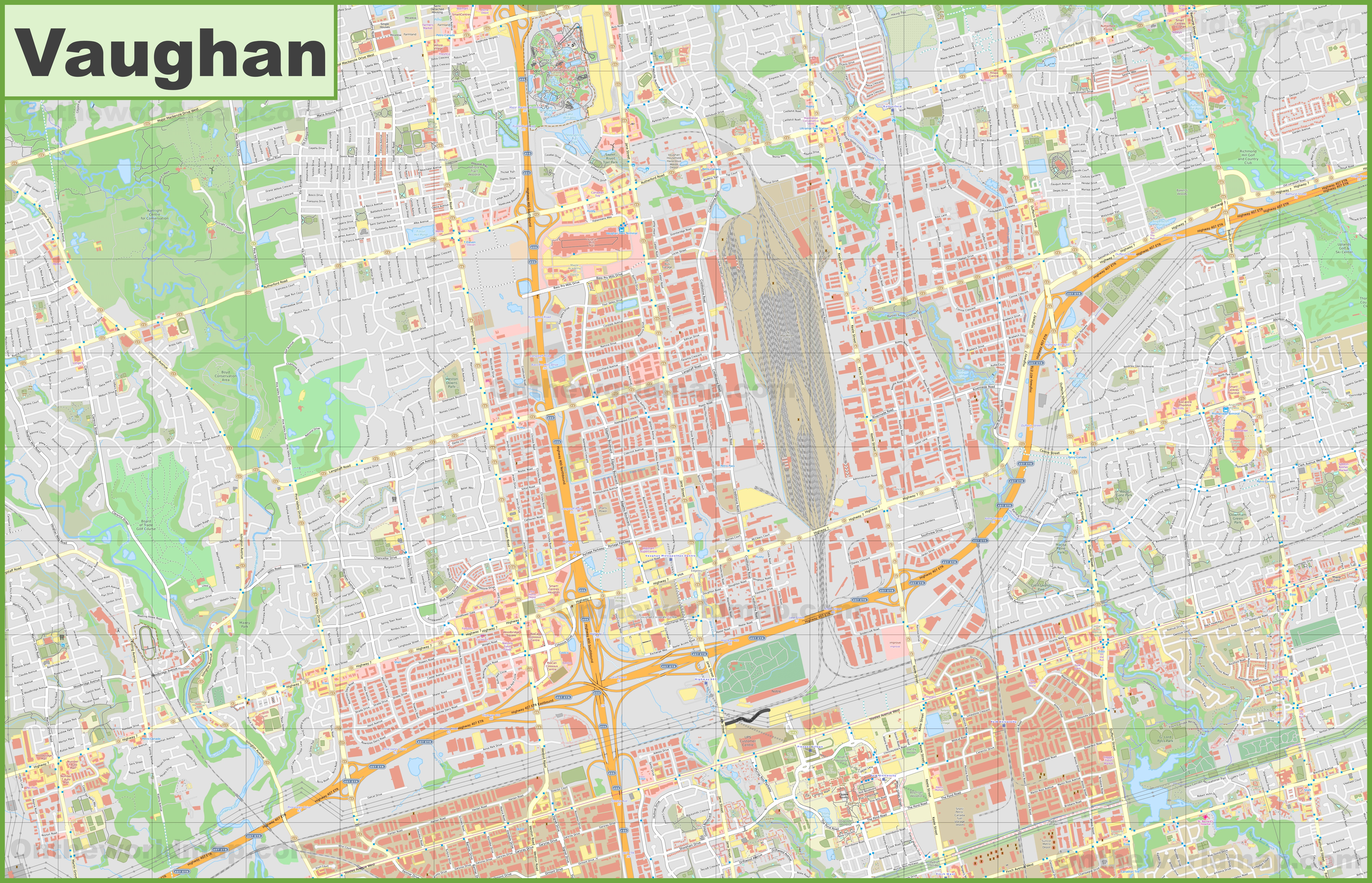 Large detailed map of Vaughan
