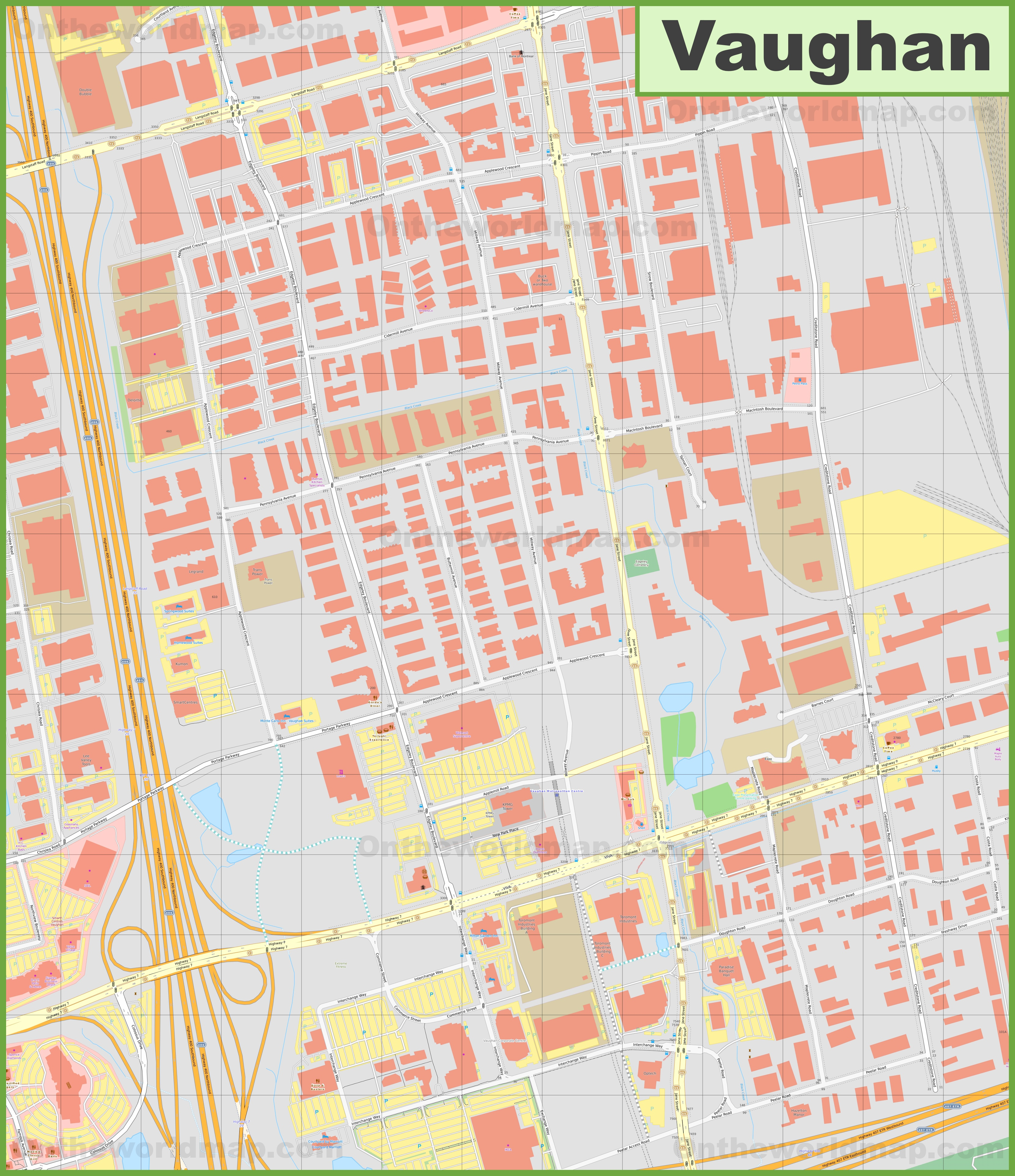 Vaughan downtown map