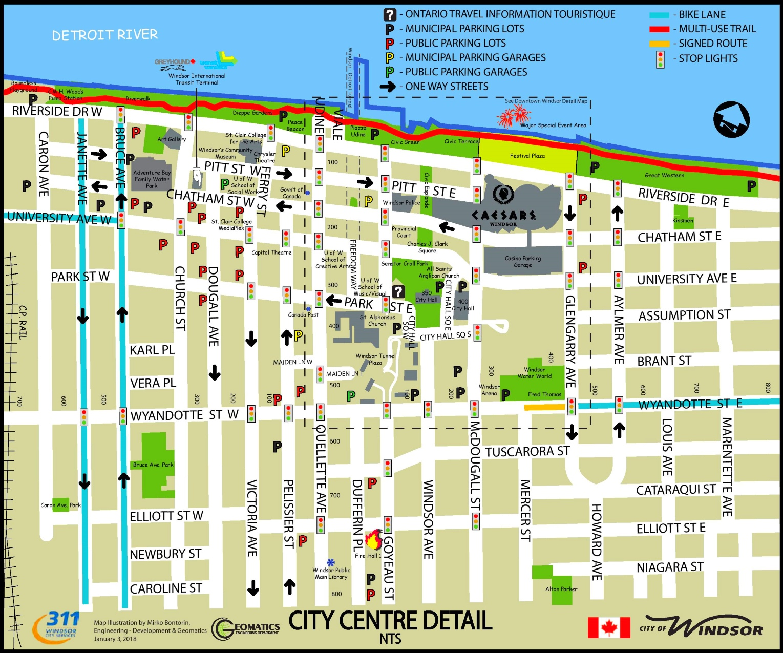 City Map Of Canada.Windsor City Center Map