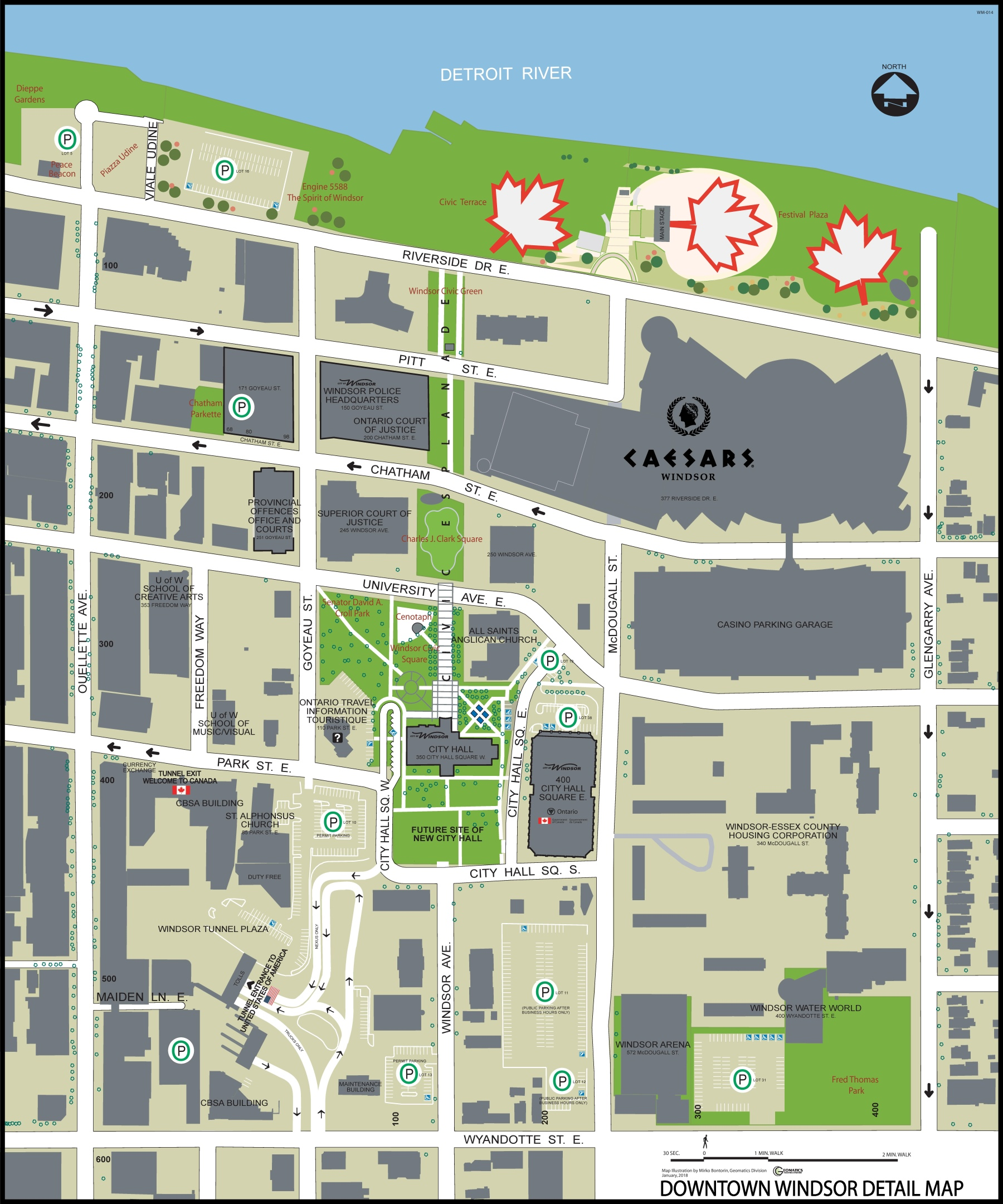Map Of Downtown Windsor Canada Windsor downtown tourist map