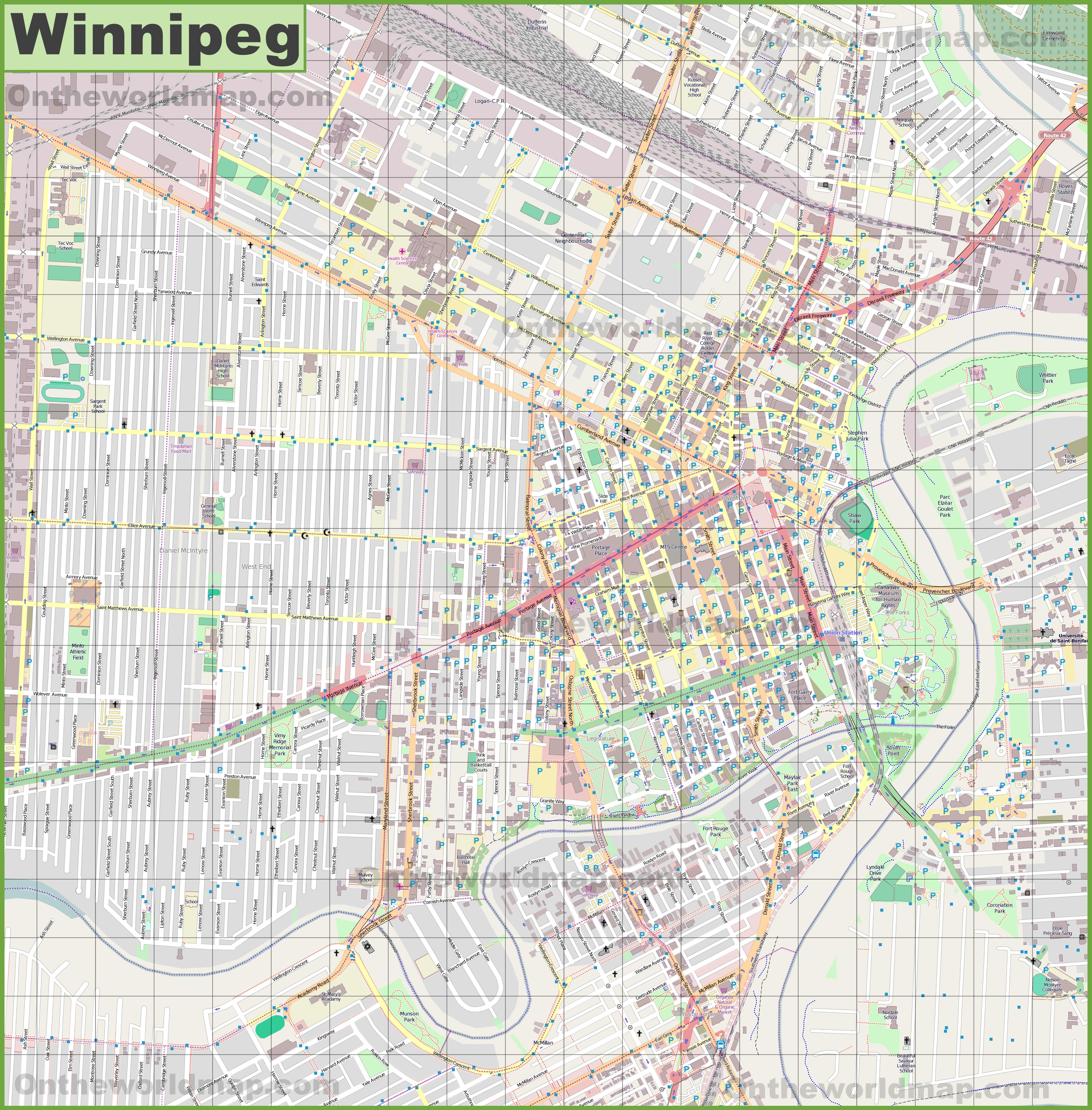 Map Of Winnipeg Large detailed map of Winnipeg Map Of Winnipeg