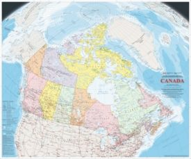 Large detailed map of Canada with cities and towns