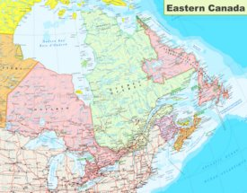 Map of Eastern Canada