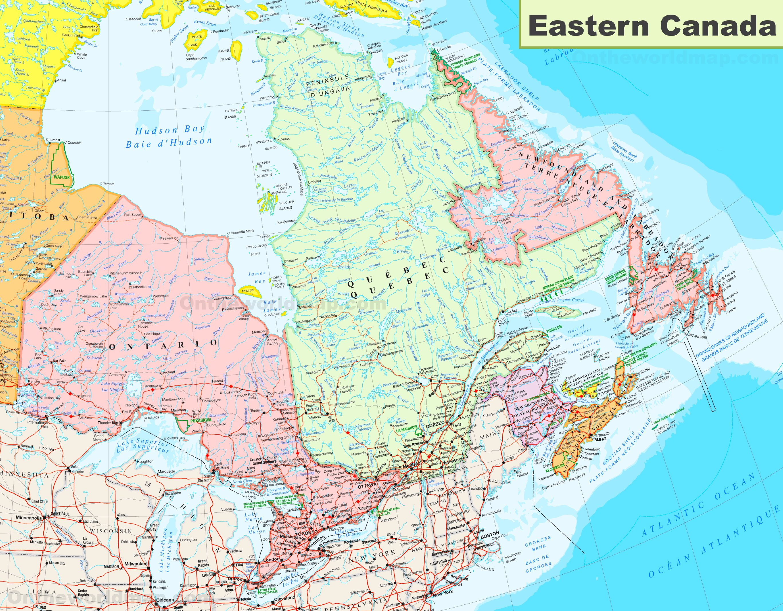 Map Of Eastern Canada With Cities Map of Eastern Canada