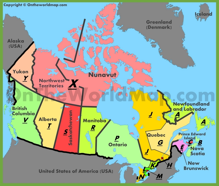 Map of postal codes in Canada