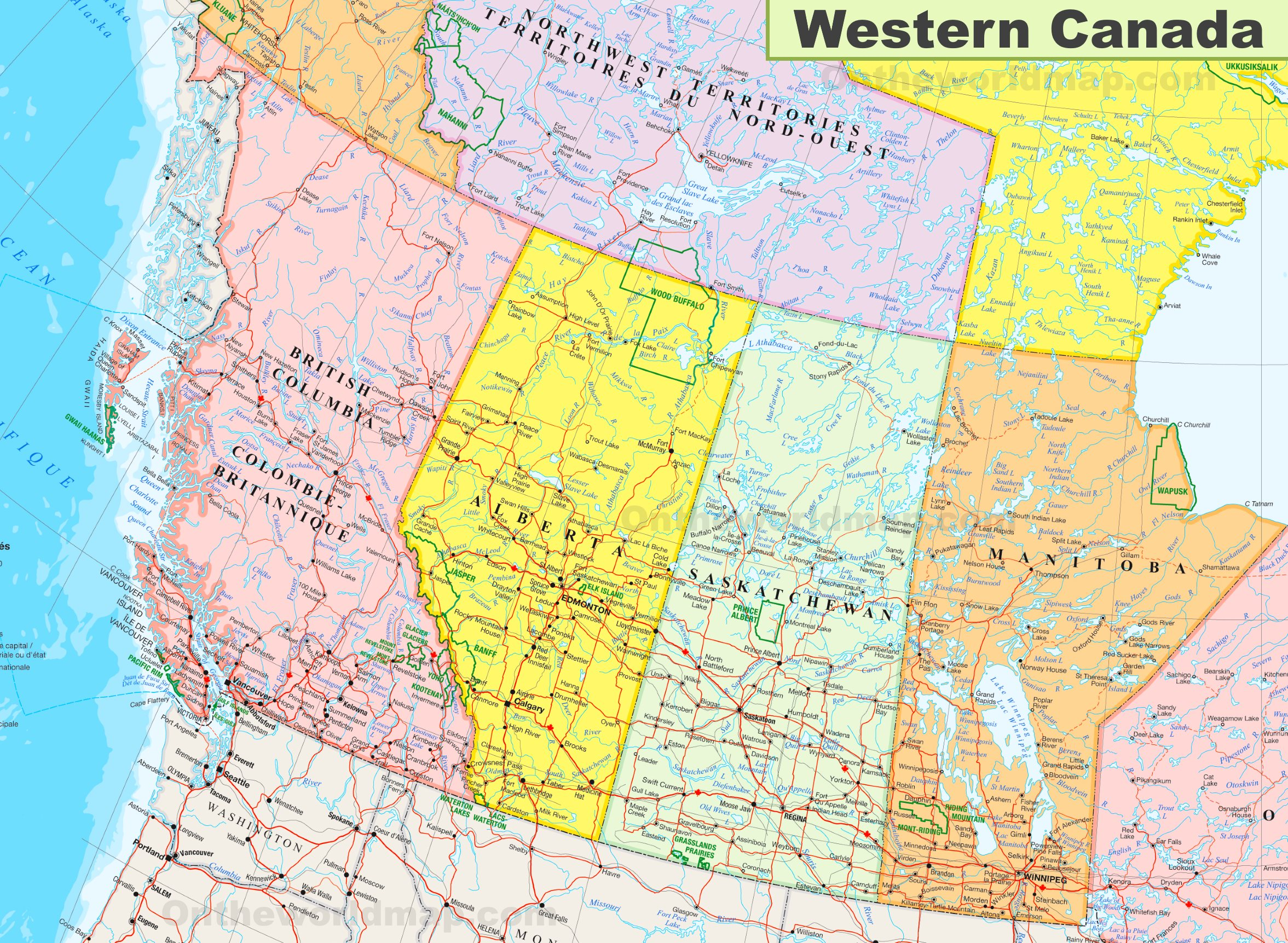 Road Map Of Western Canada Provinces Map of Western Canada
