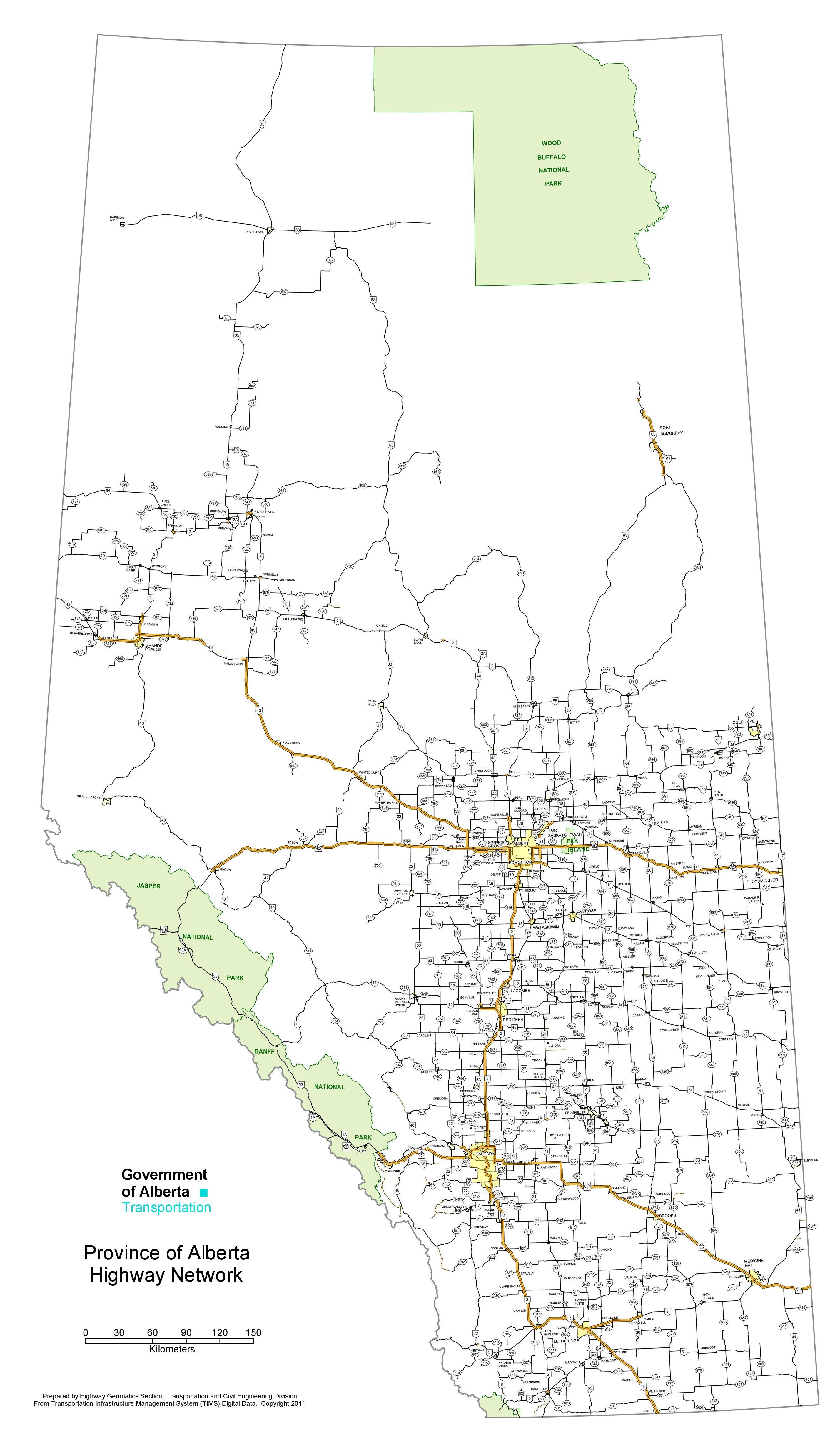 Alberta highway map