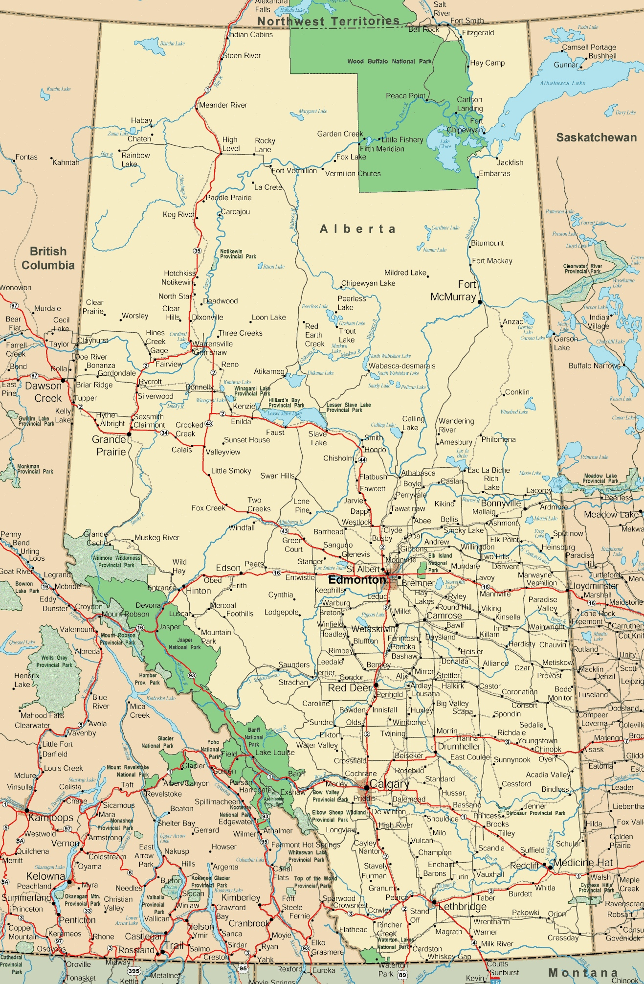 Map Of Southern Alberta Canada Alberta road map