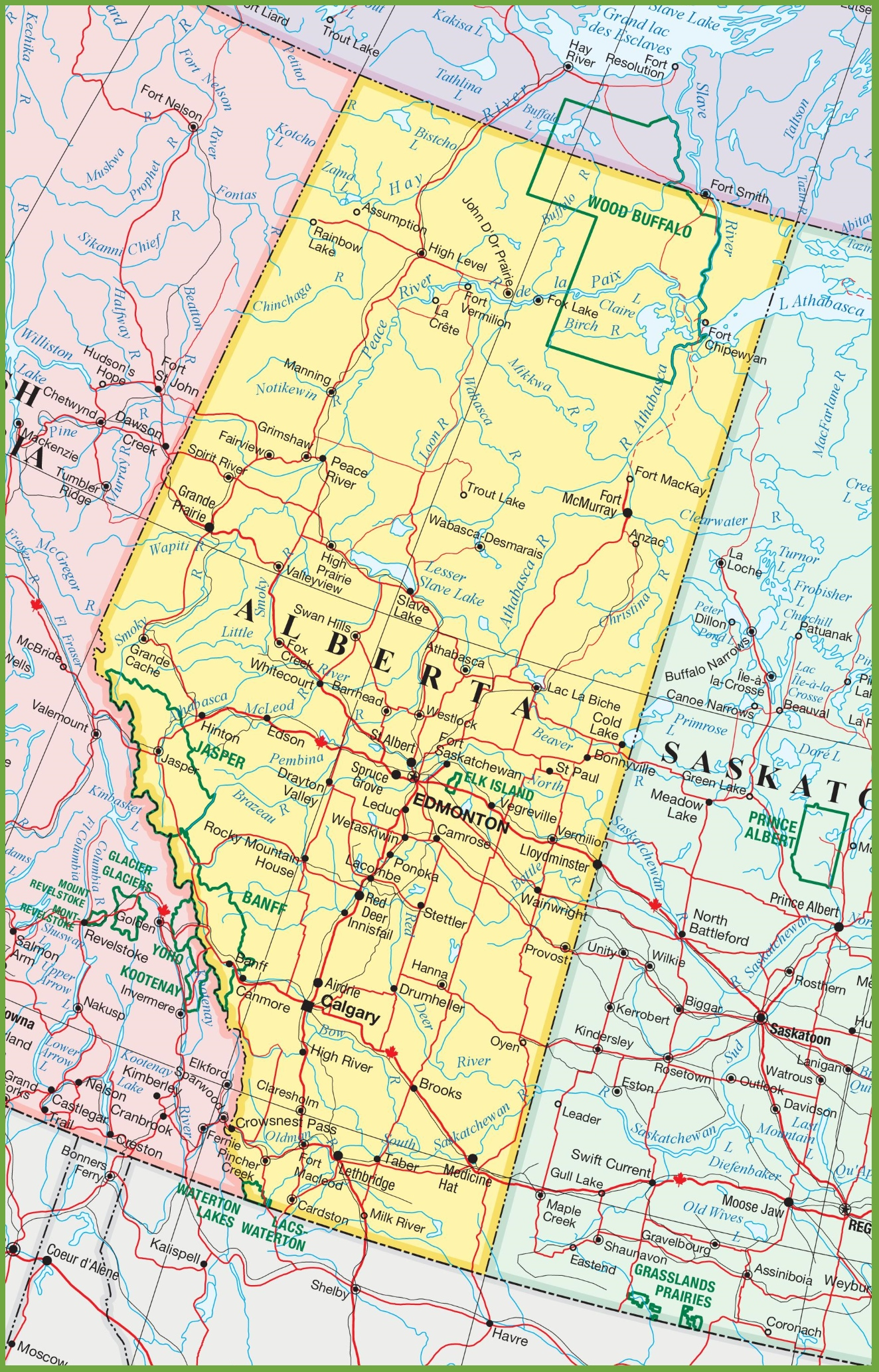 Large detailed map of Alberta with cities and towns