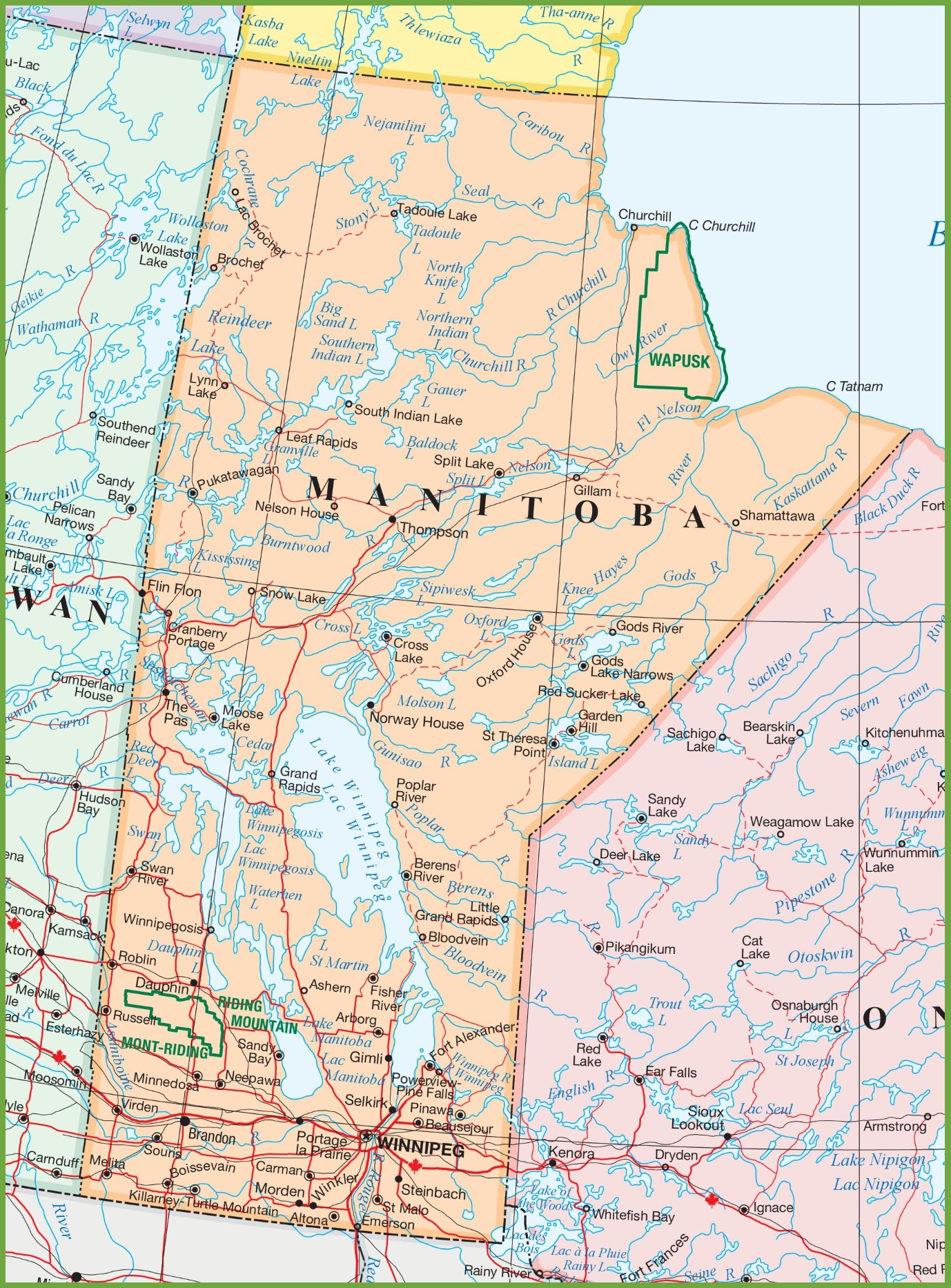 Large detailed map of Manitoba with cities and towns on