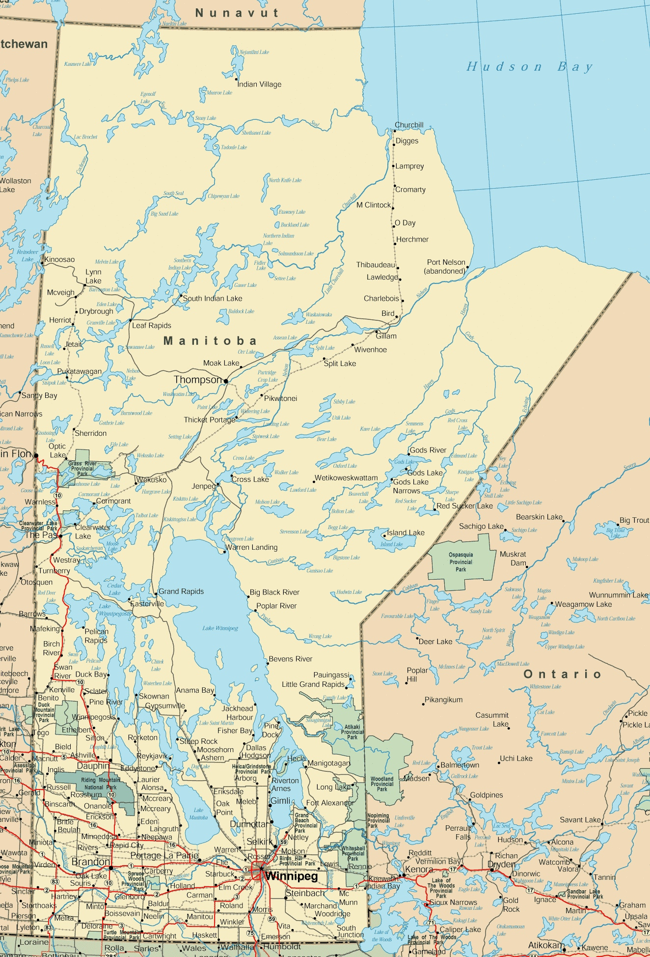Manitoba Road Map - Large us road wall map