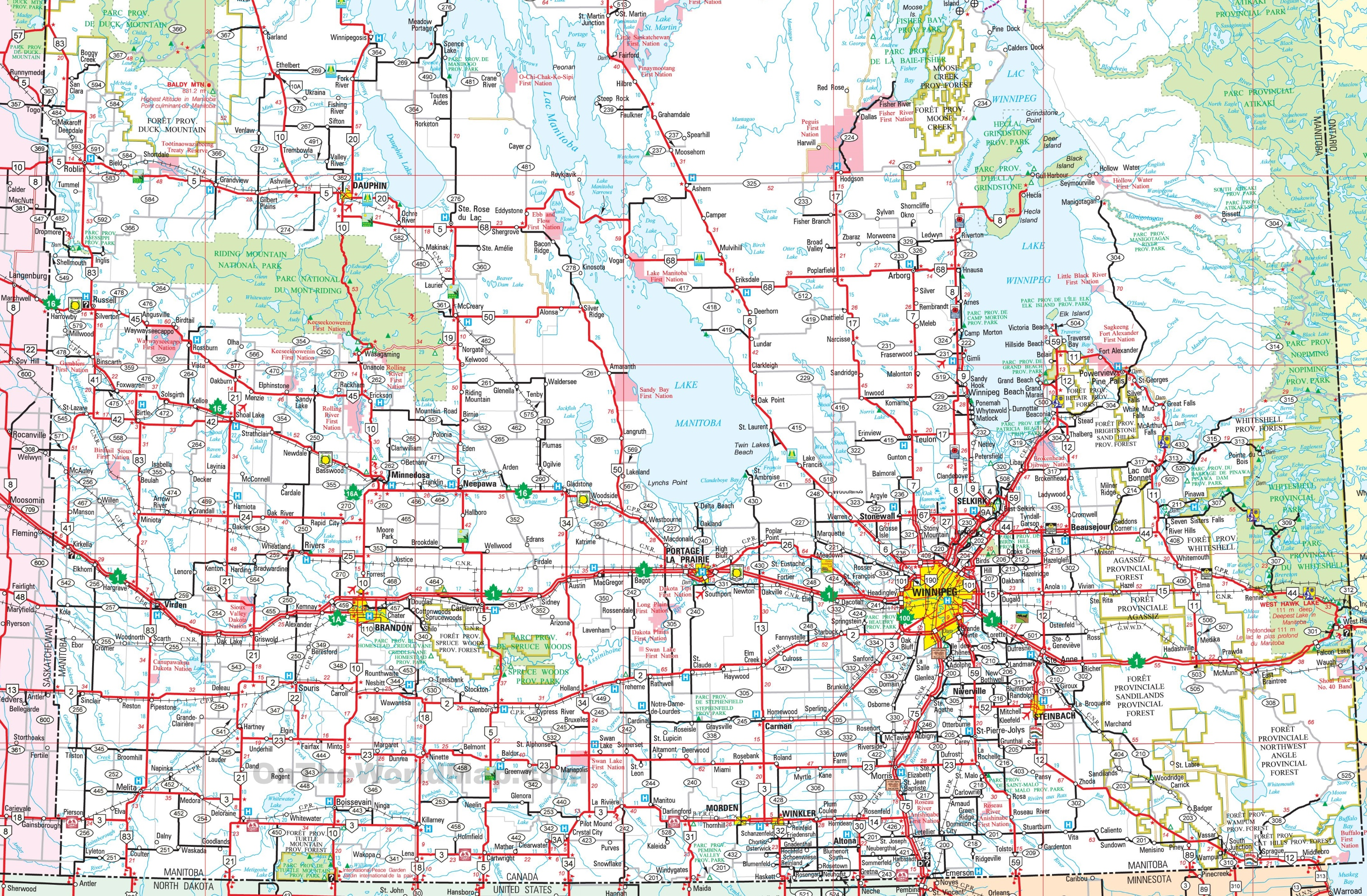 Map Of Southern Manitoba Map of Southern Manitoba Map Of Southern Manitoba
