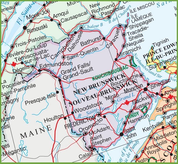 Large Detailed Map Of New Brunswick