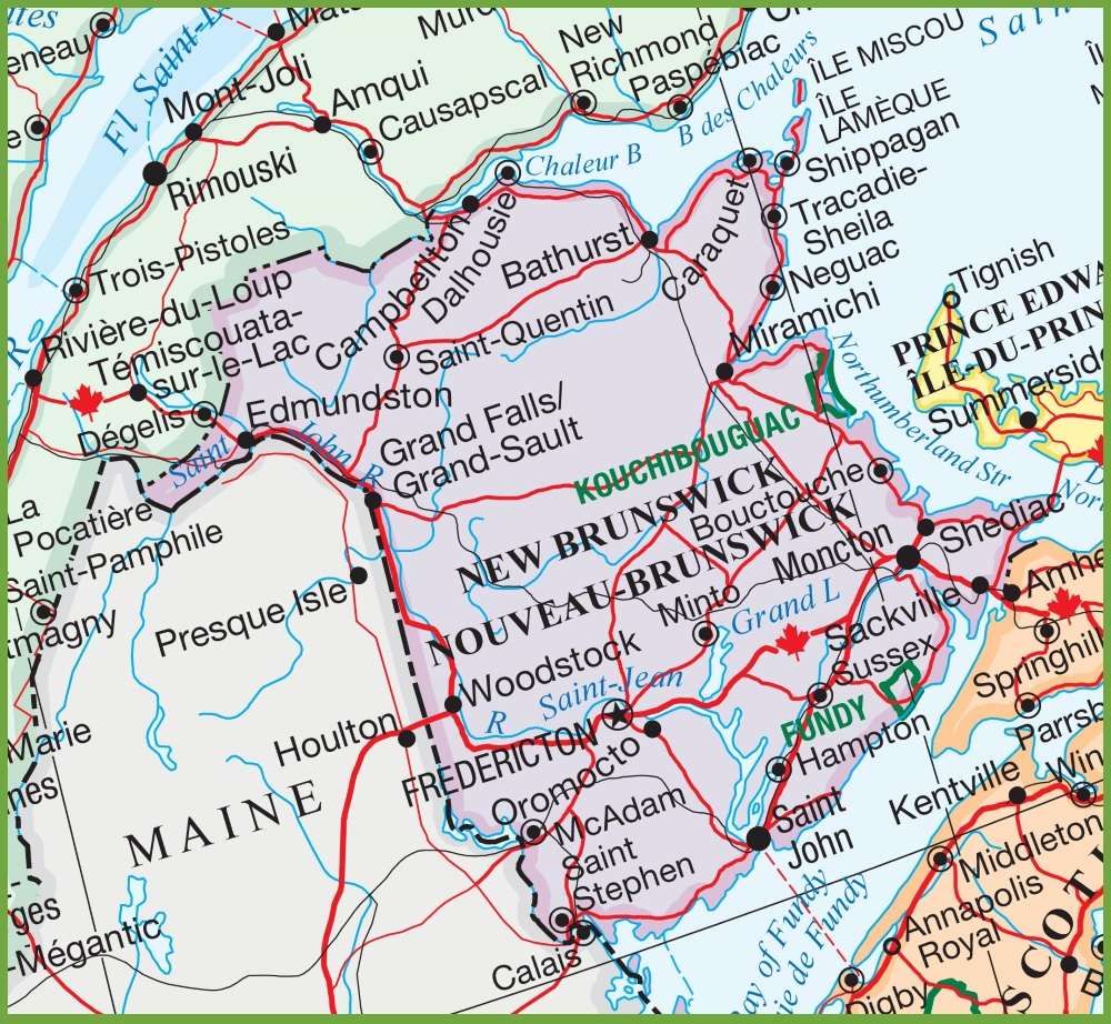 Large detailed map of New Brunswick