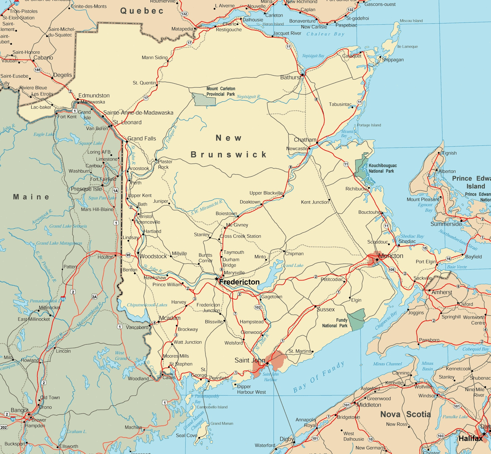Map Of Canada New Brunswick.Map Of New Brunswick With Cities And Towns