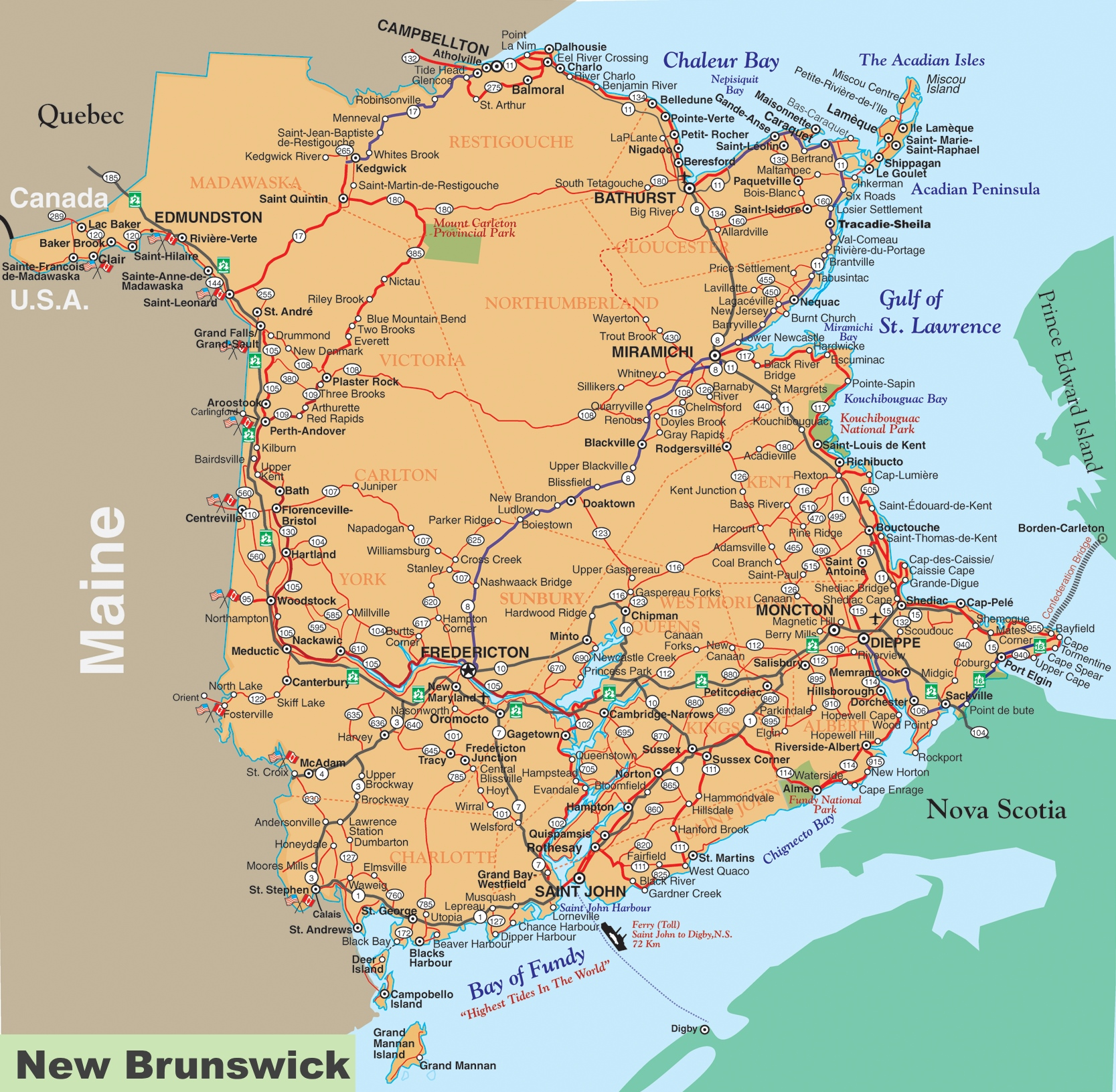 New Brunswick Canada Map New Brunswick road map