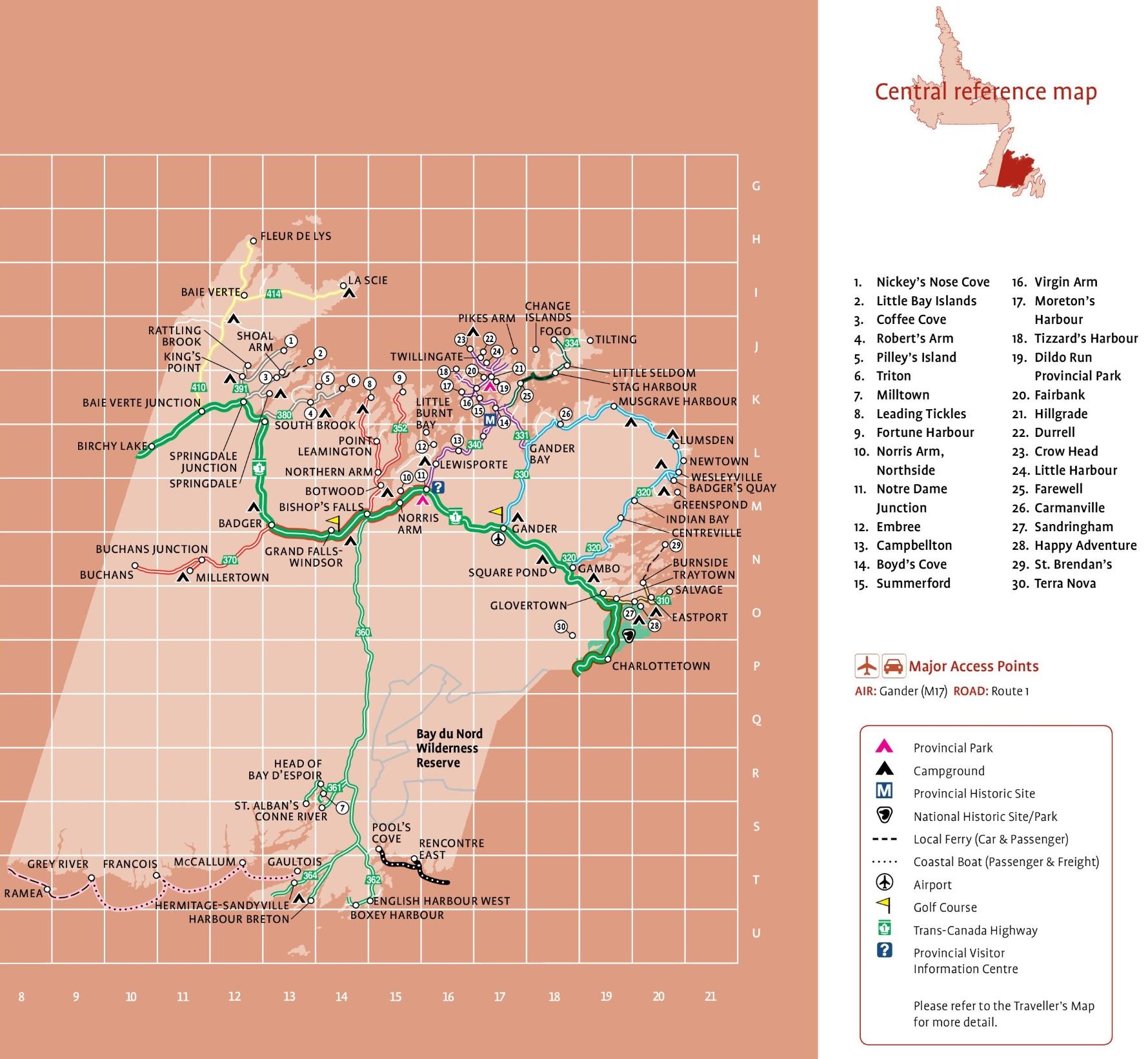 Central Newfoundland tourist map