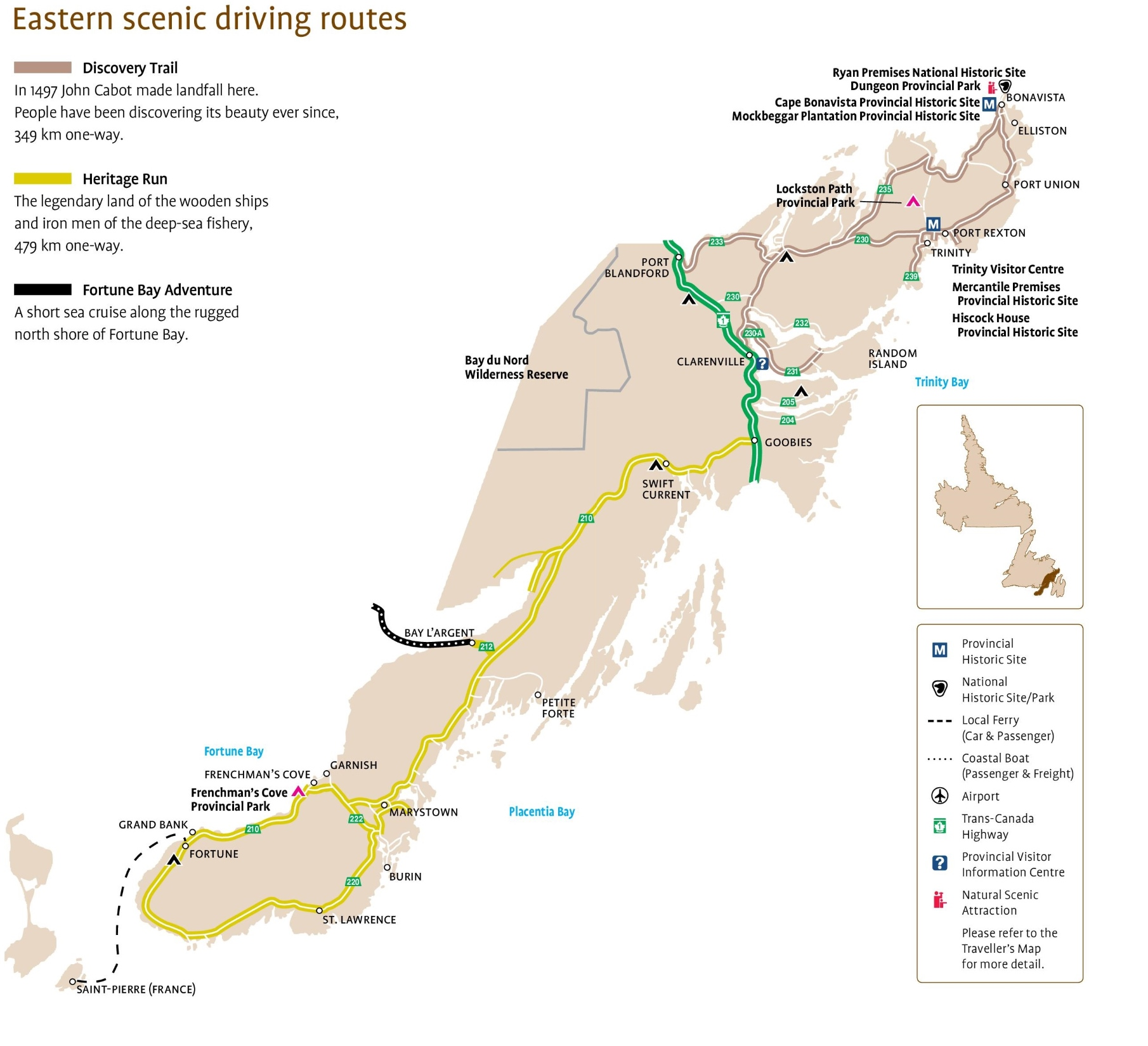 Eastern Newfoundland Scenic Driving Routes Map - Newfoundland map