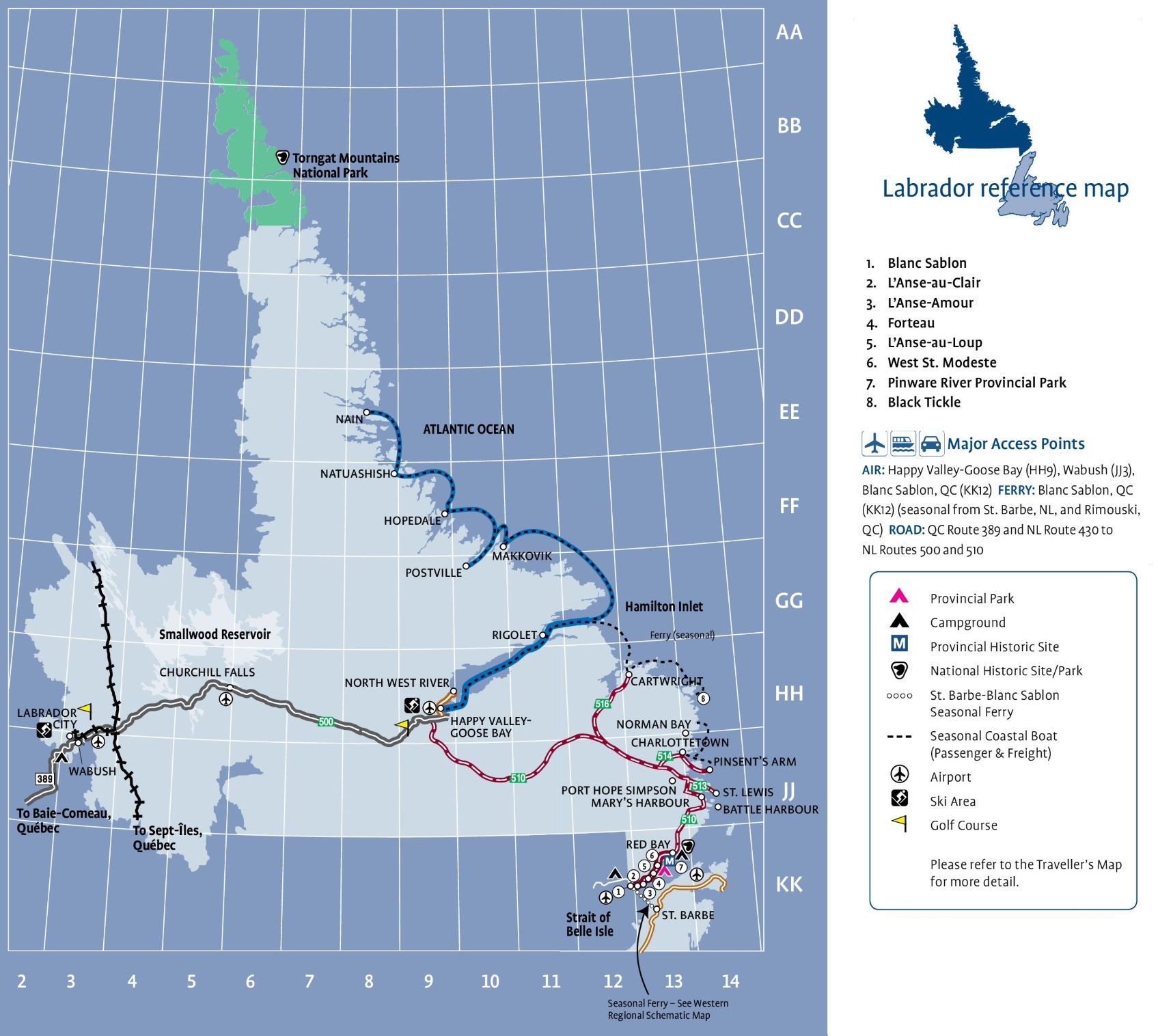 labrador tourist map