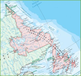 Large detailed map of Newfoundland and Labrador with cities and towns