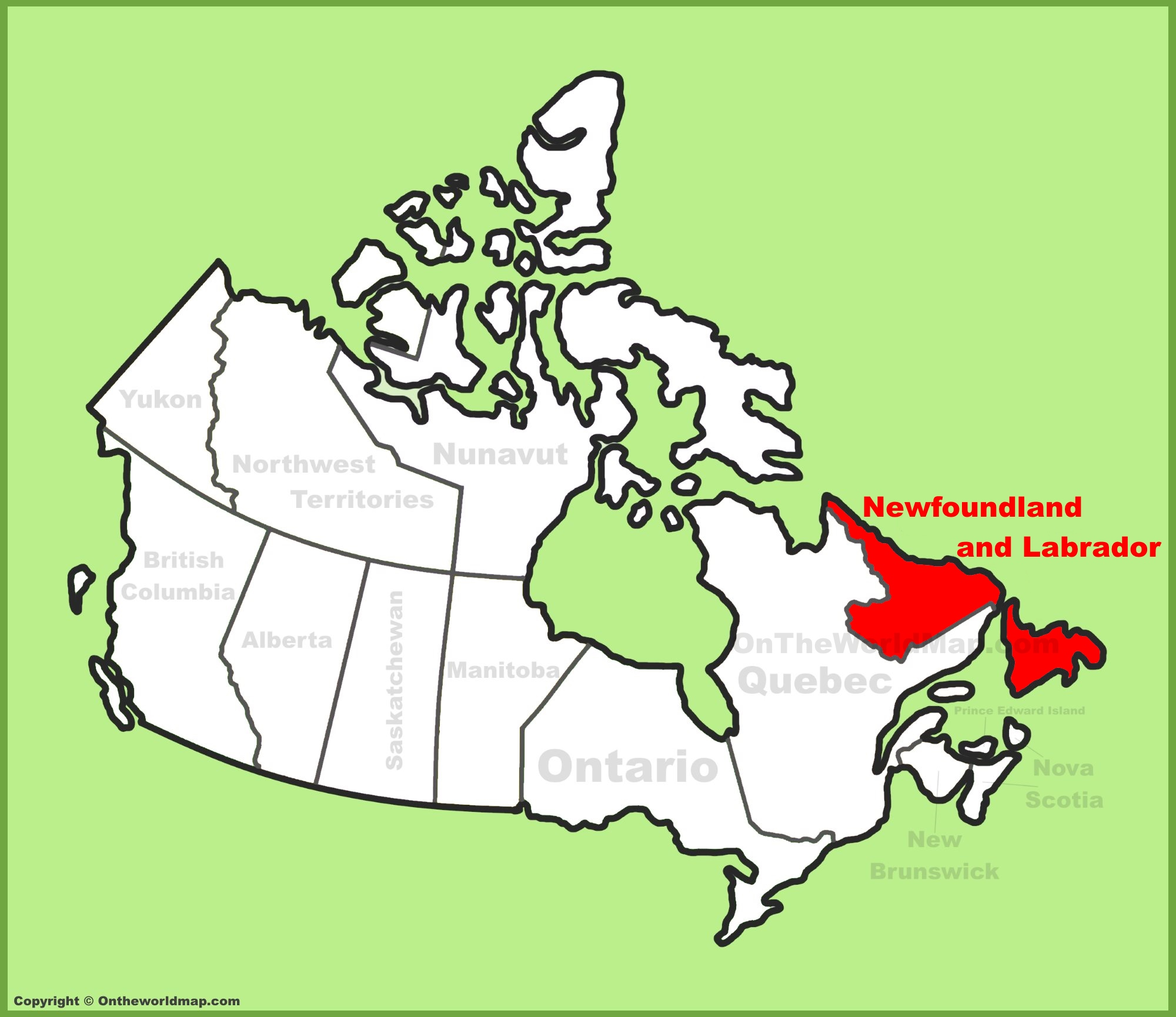 Newfoundland Map Of Canada Newfoundland and Labrador Province location on the Canada Map