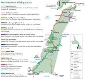 Western Newfoundland scenic driving routes map