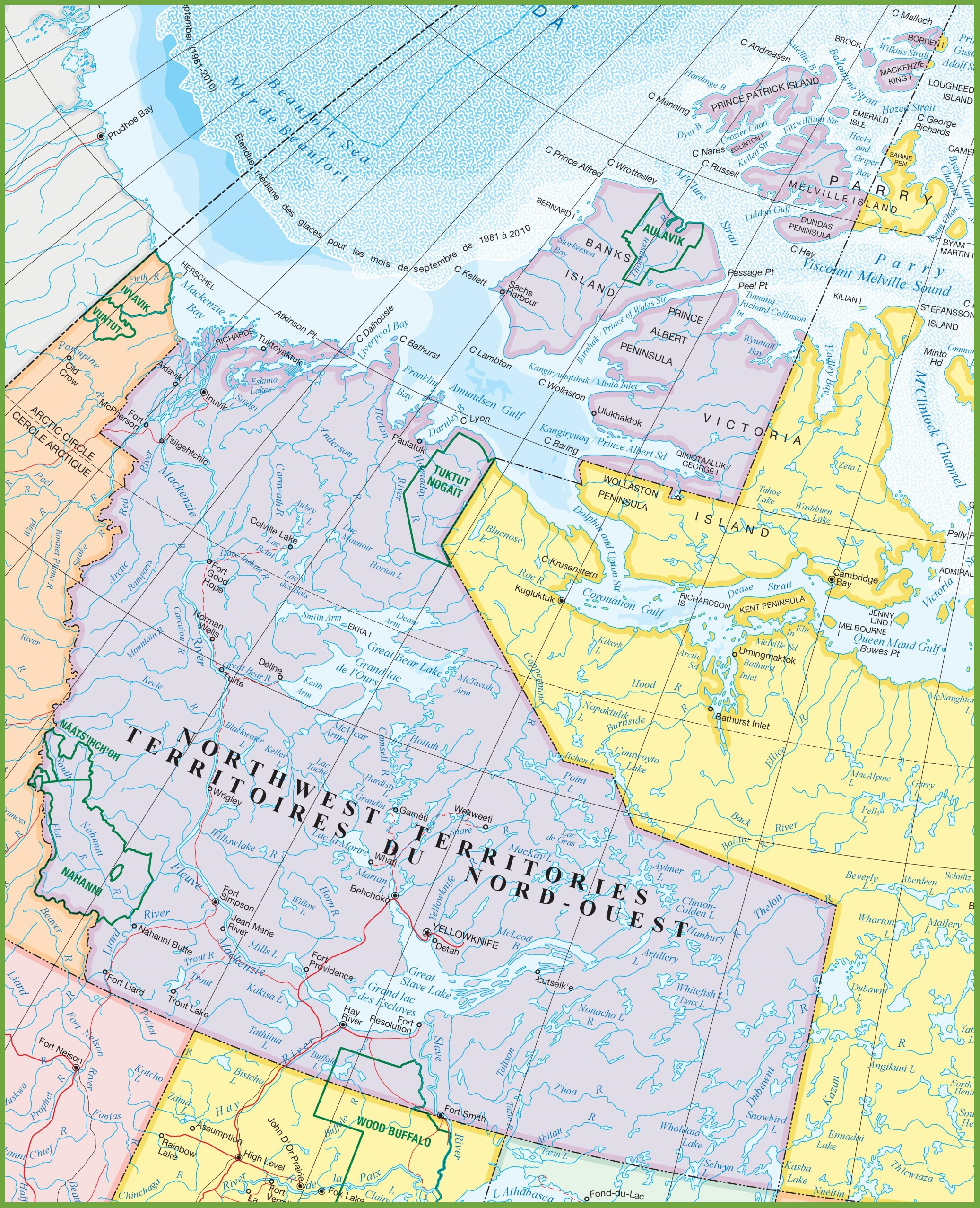 Large detailed map of Northwest Territories with cities and towns