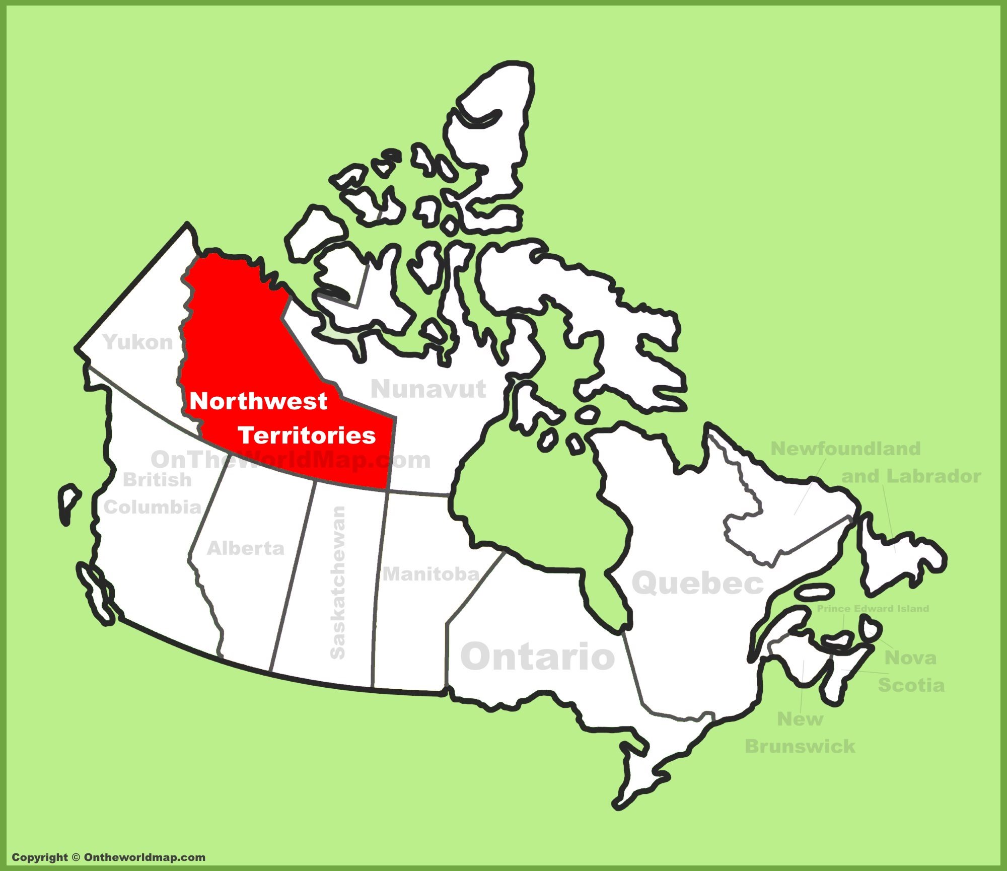 Northwest Territories location on the Canada Map