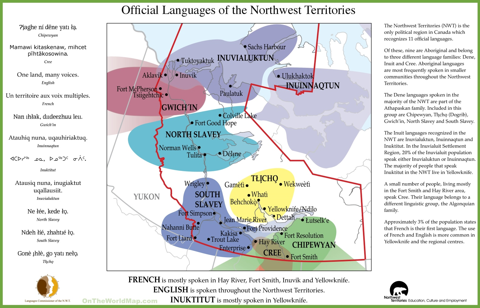 Map Of Canada Yellowknife.Northwest Territories Official Languages Map