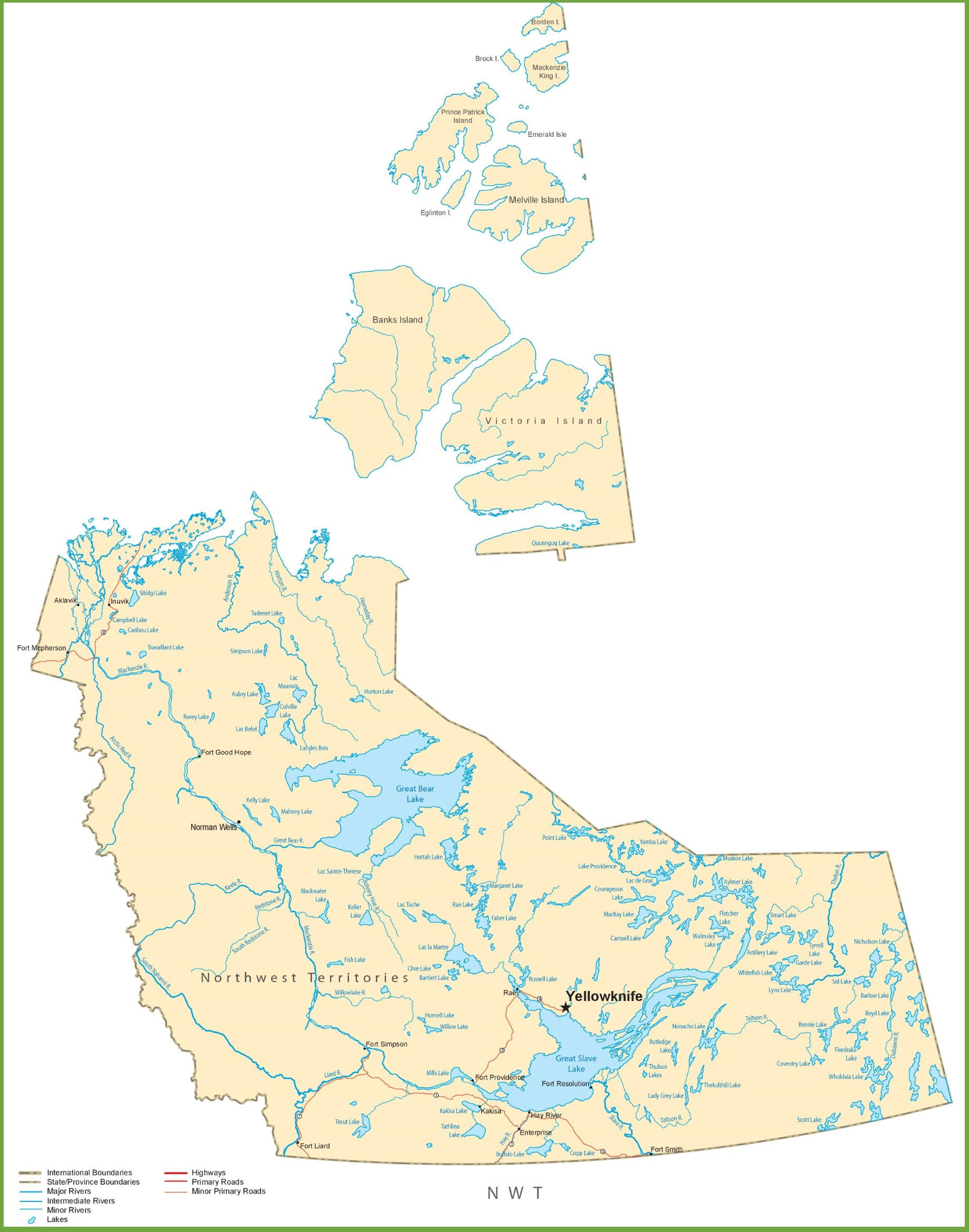 Northwest Territories Canada Map.Northwest Territories Road Map