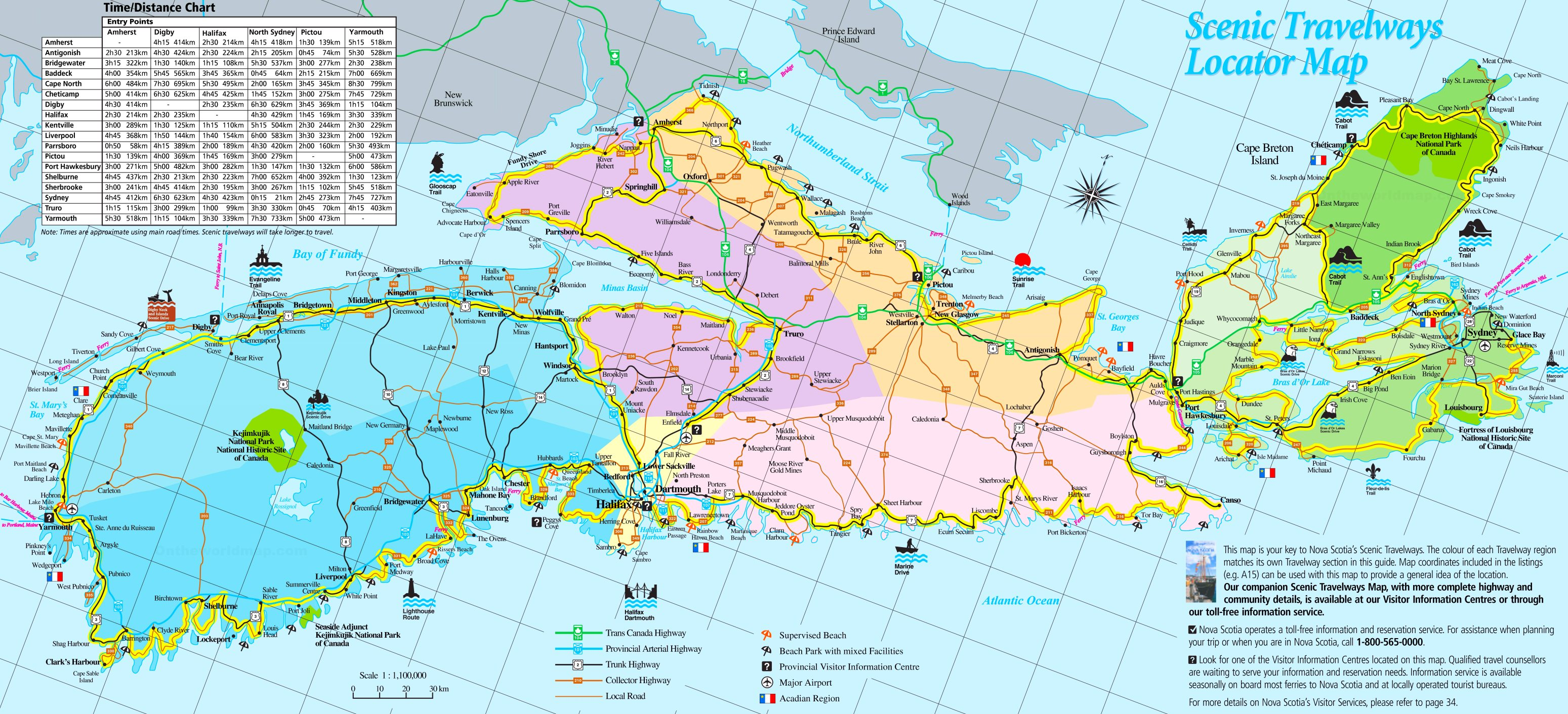 Nova Scotia Maps Large detailed tourist map of Nova Scotia