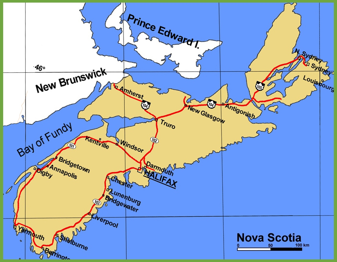 Nova Scotia highway map