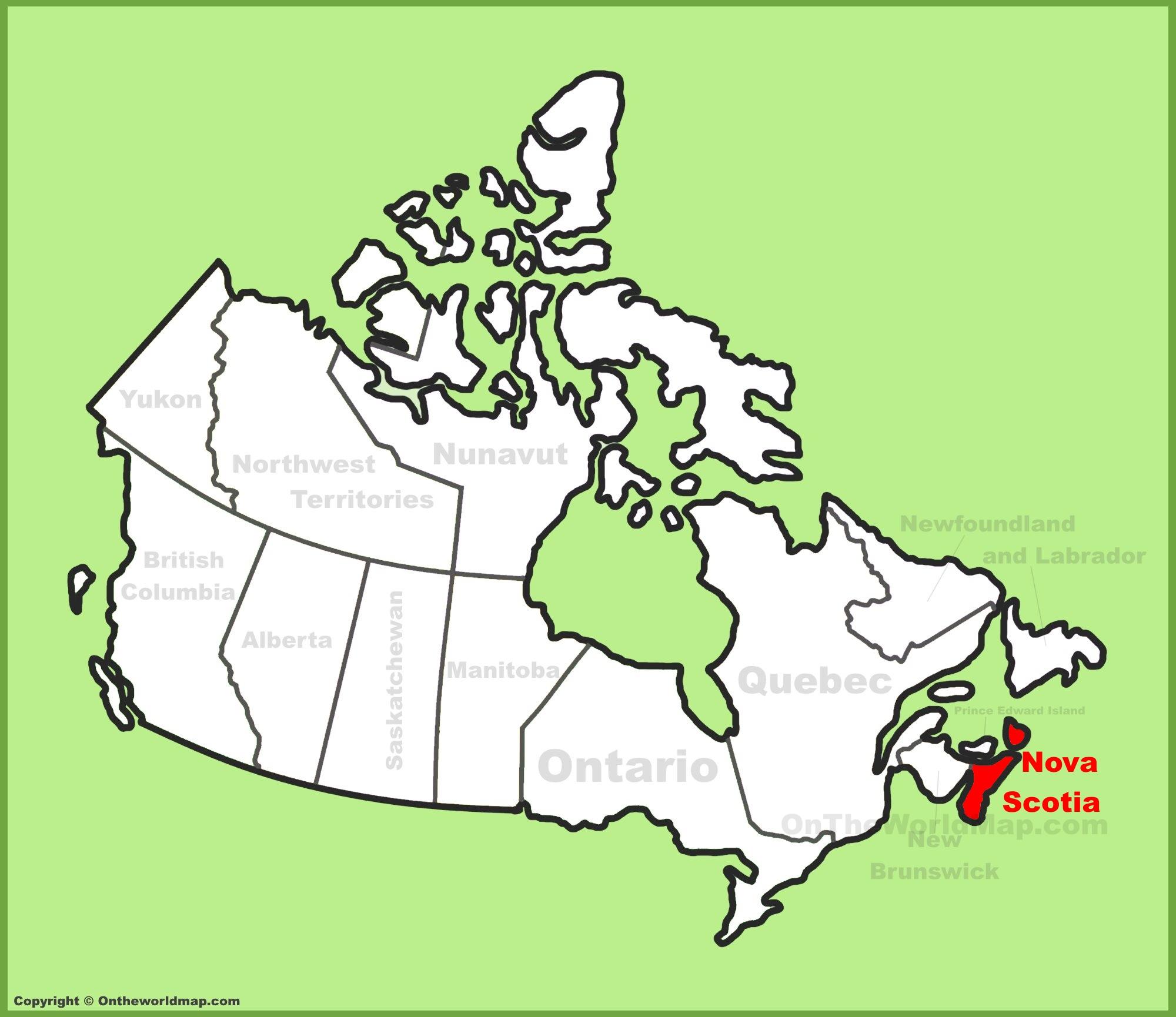 Nova Scotia location on the Canada Map