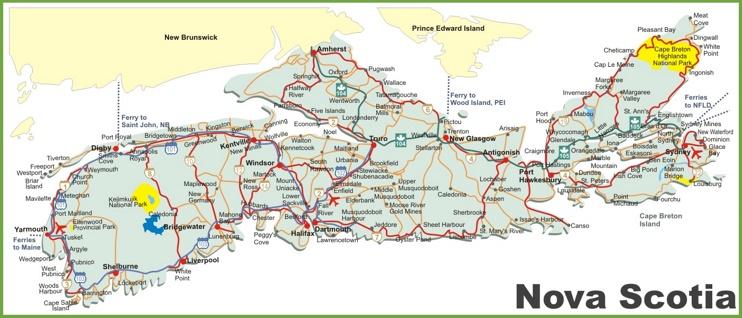 Nova Scotia road map