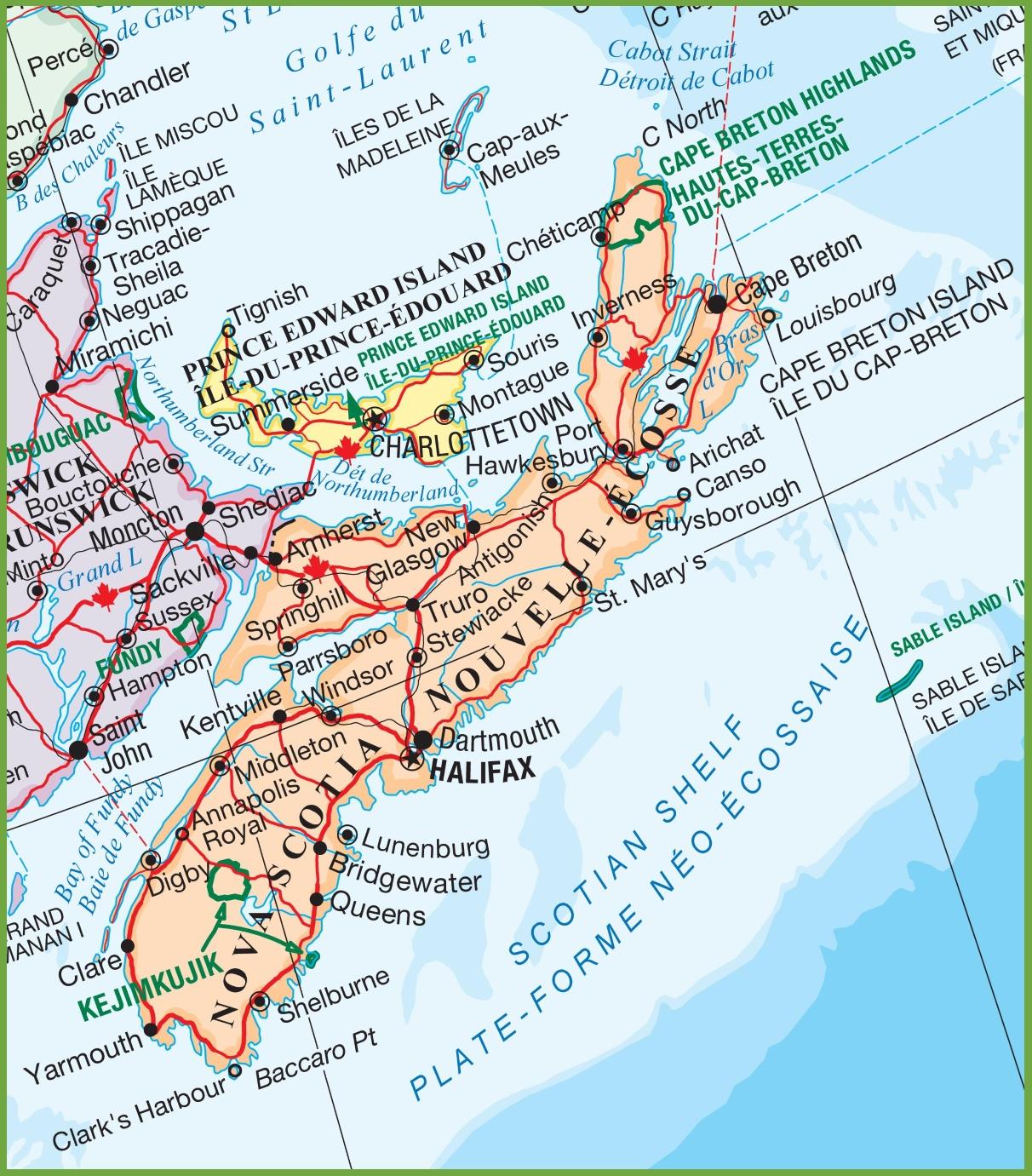 Map Of Nova Scotia Canada Nova Scotia national parks map Map Of Nova Scotia Canada