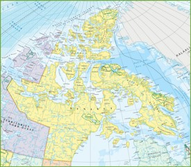 Large detailed map of Nunavut