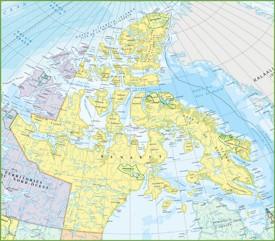 Large detailed map of Nunavut