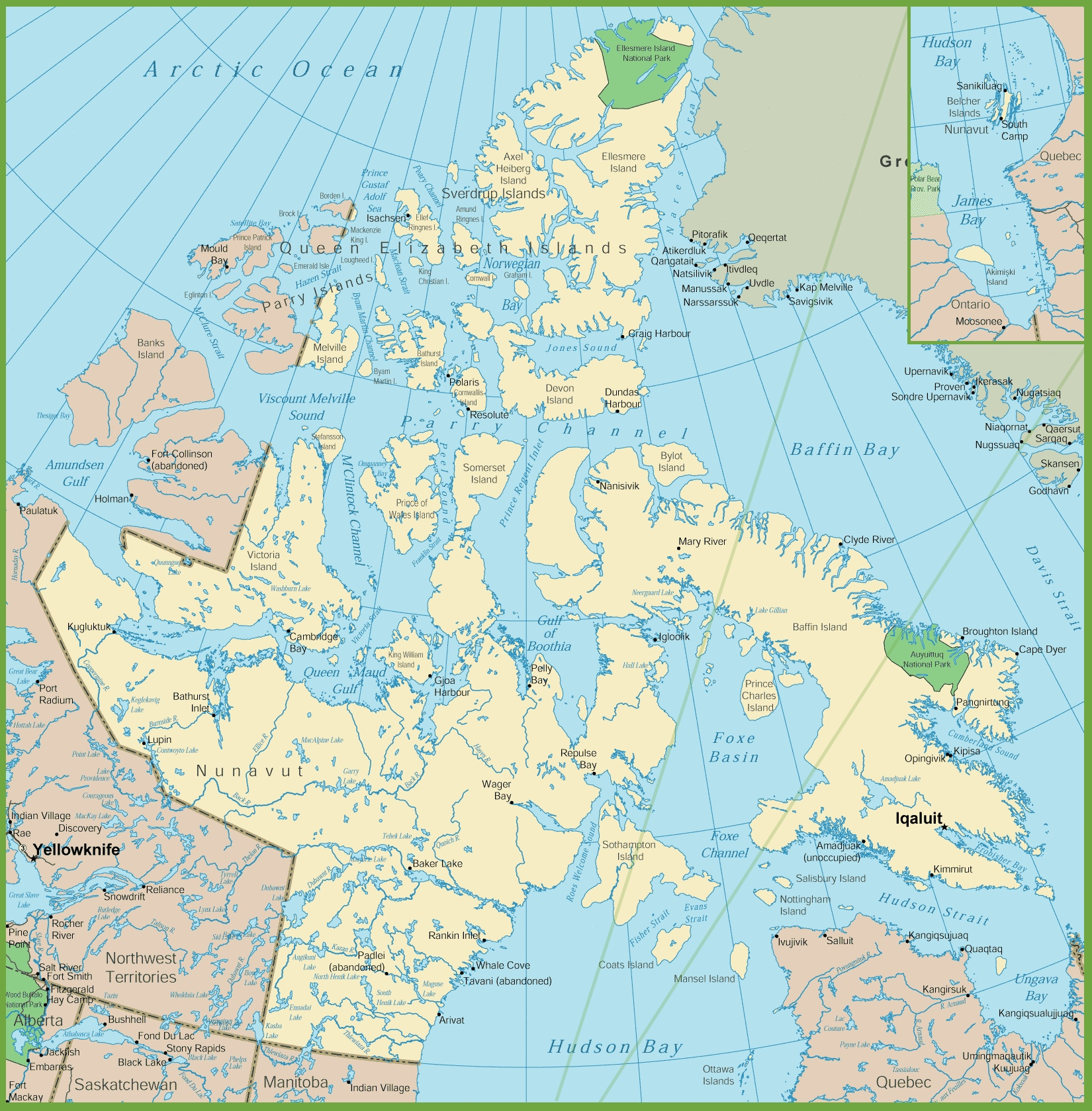 Map Of Nunavut With Cities And Towns - Nunavut map