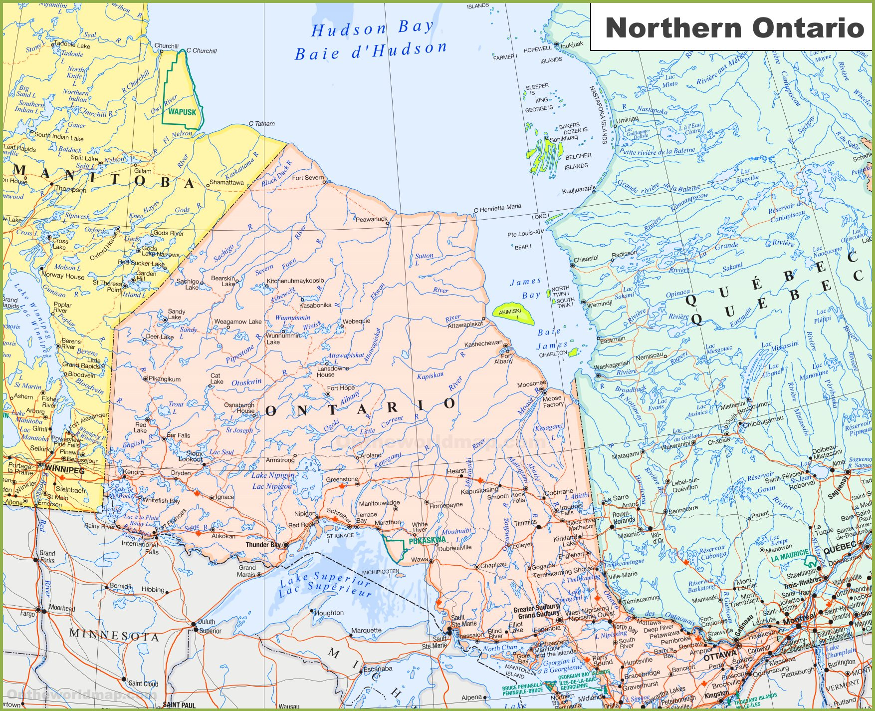 Large detailed Map of Northern Ontario