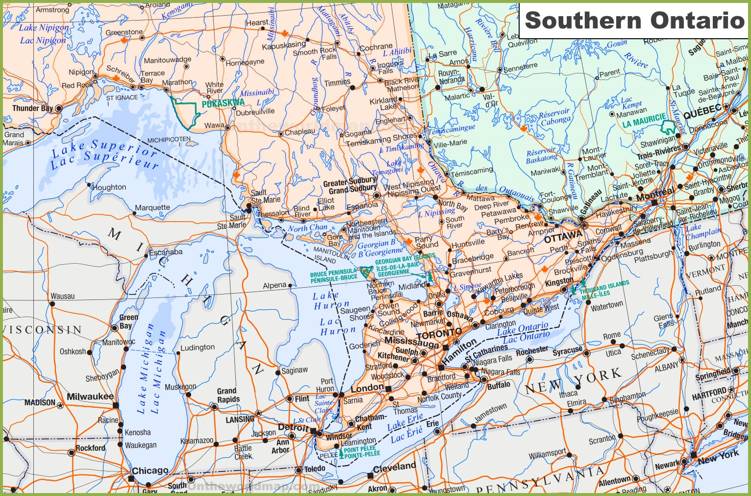 Large detailed map of Southern Ontario