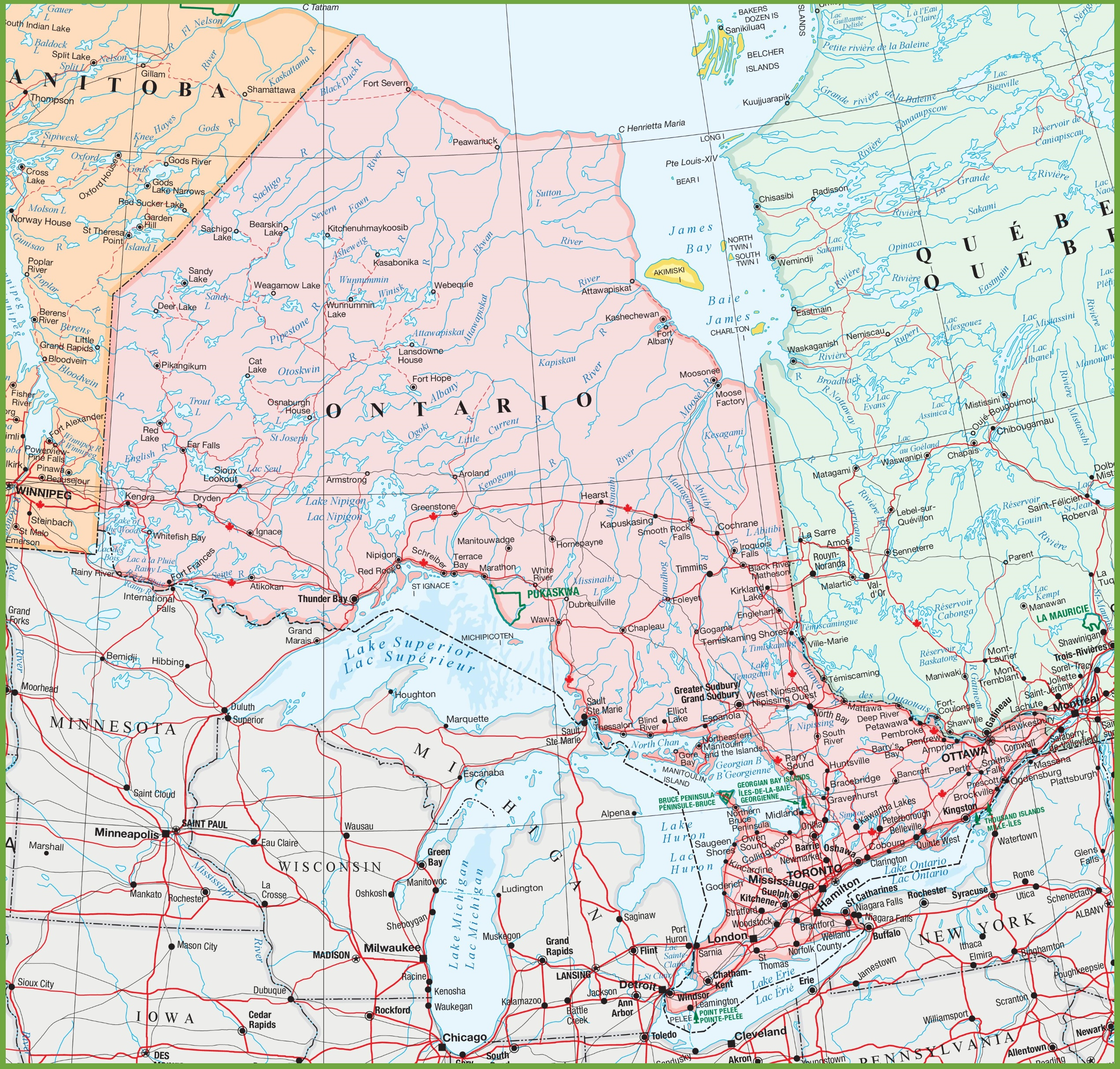Ontario Canada On Map Map of Ontario with cities and towns