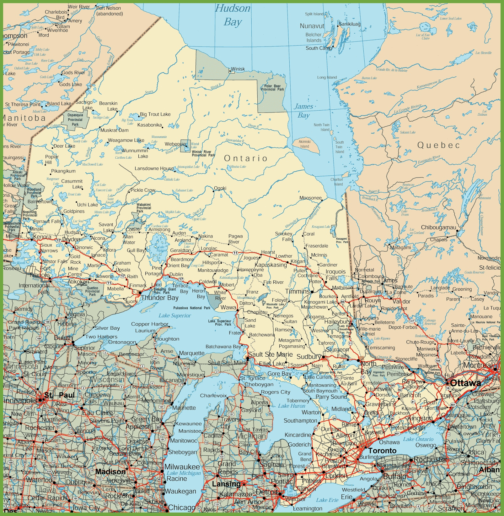 Onterio Canada Map.Ontario Road Map