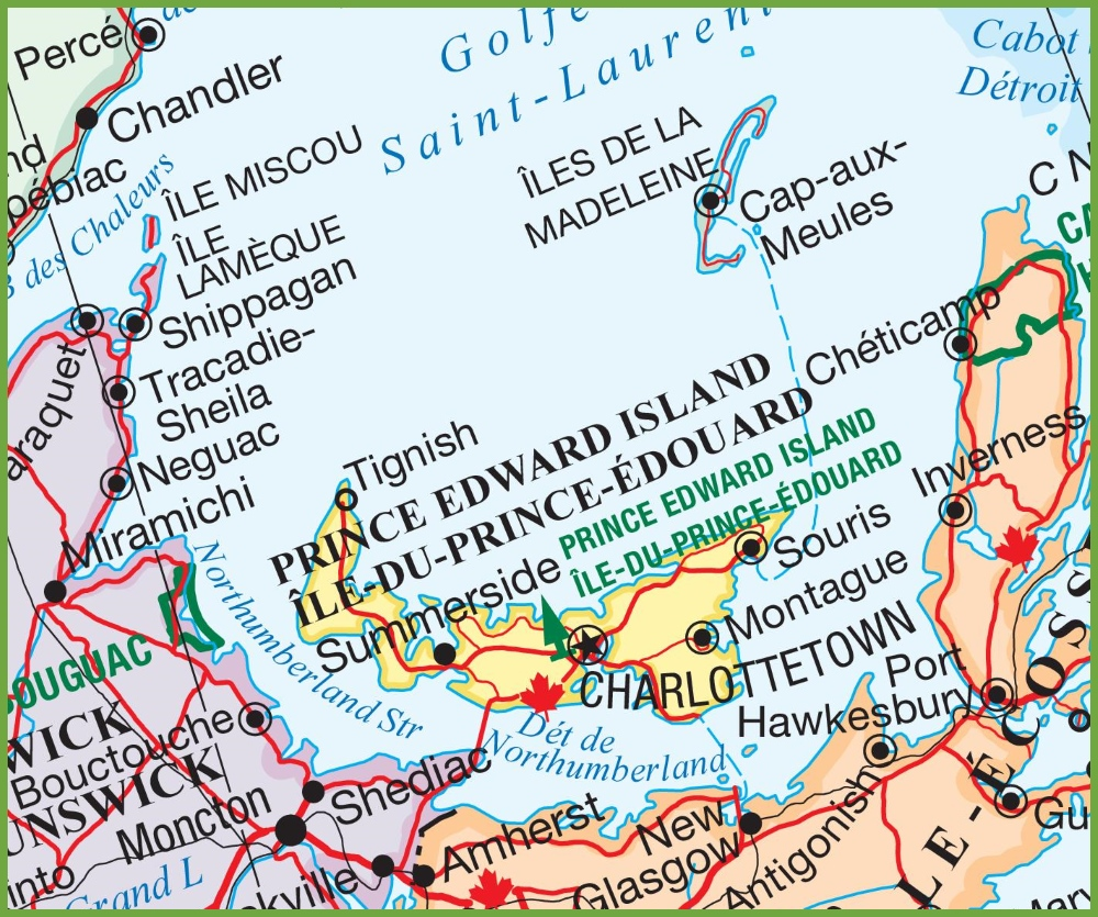 Detailed Map Of Prince Edward Island Prince Edward Island area road map