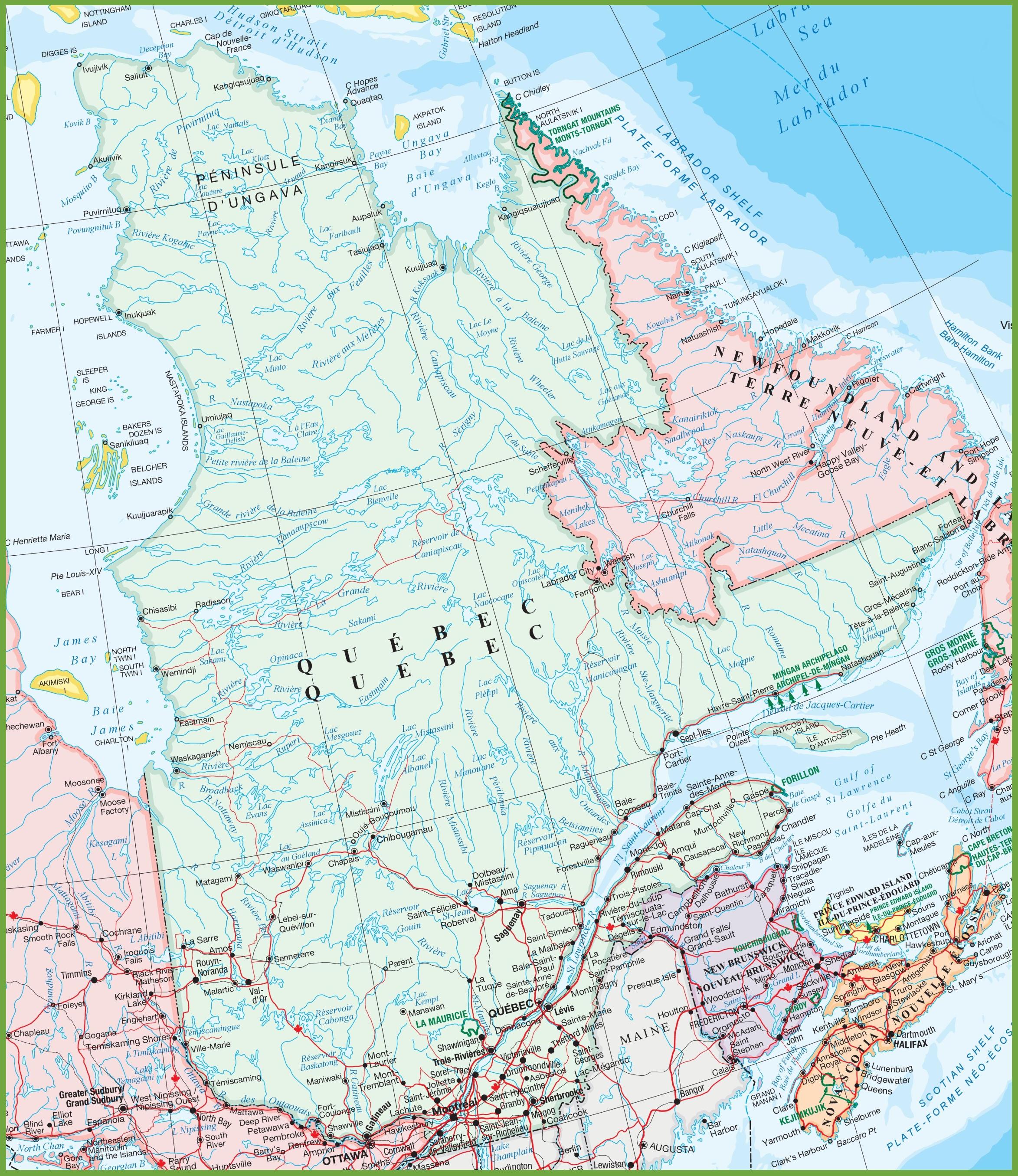 Map Of Quebec Large detailed map of Quebec Map Of Quebec