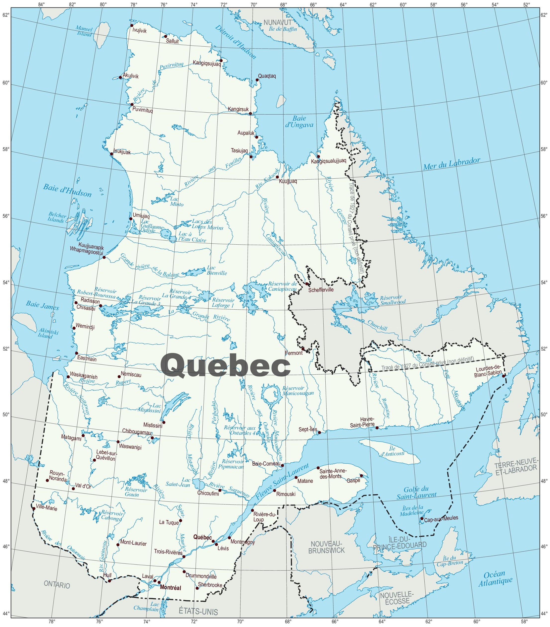 Map of Quebec with cities and towns