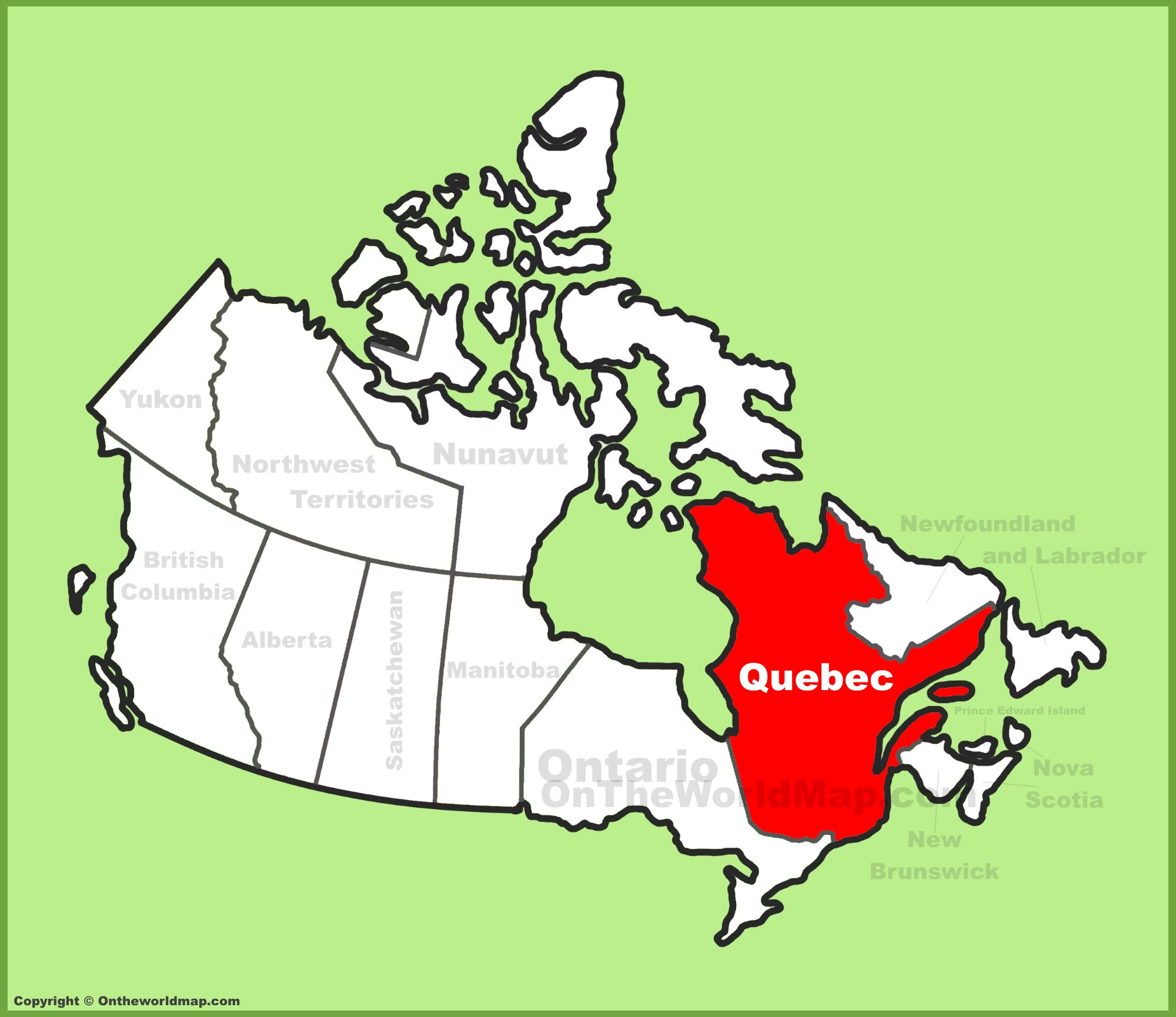 Quebec On Map Of Canada.Quebec Province Location On The Canada Map